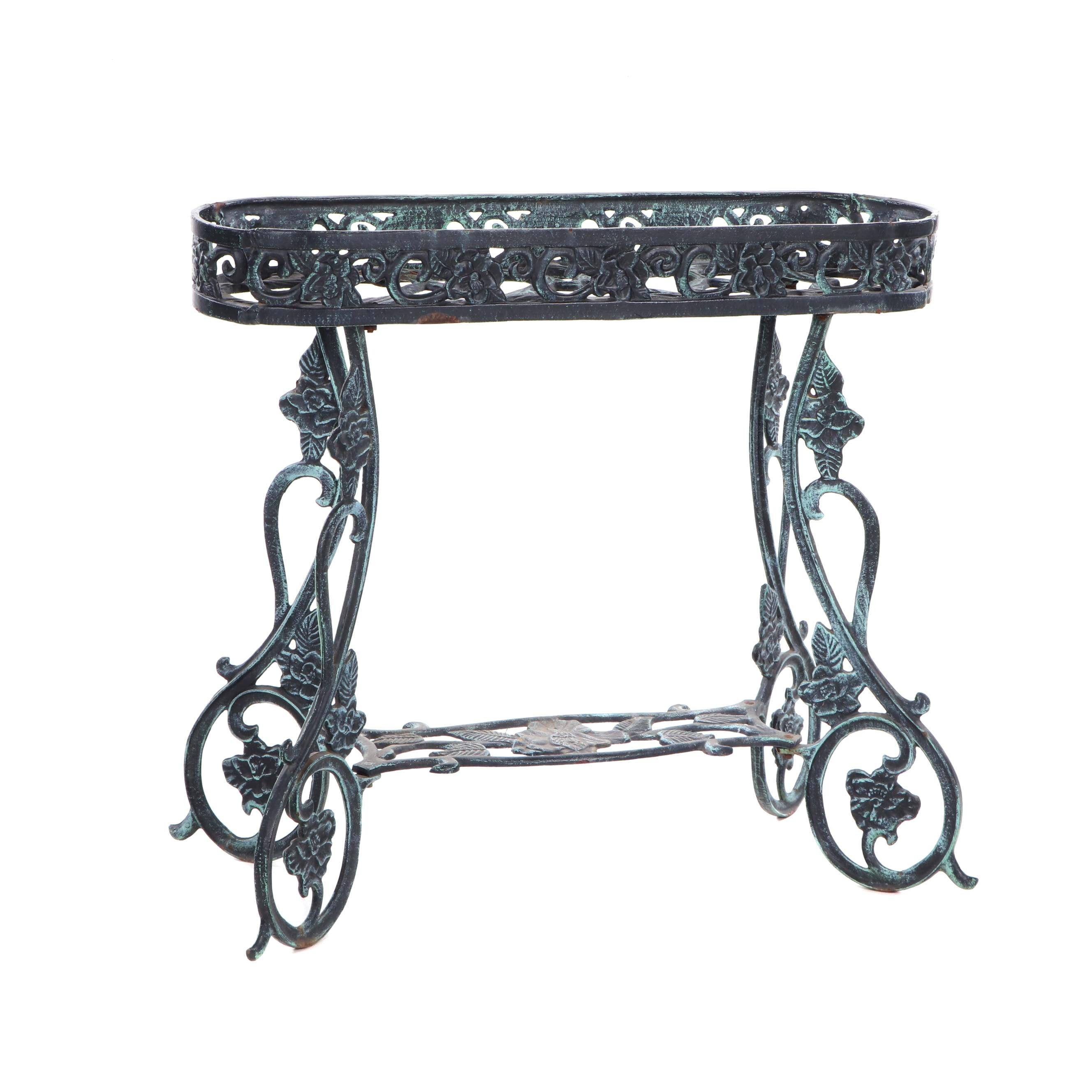 Cast Iron Plant Stand with Foliate Design, Mid/Late 20th Century