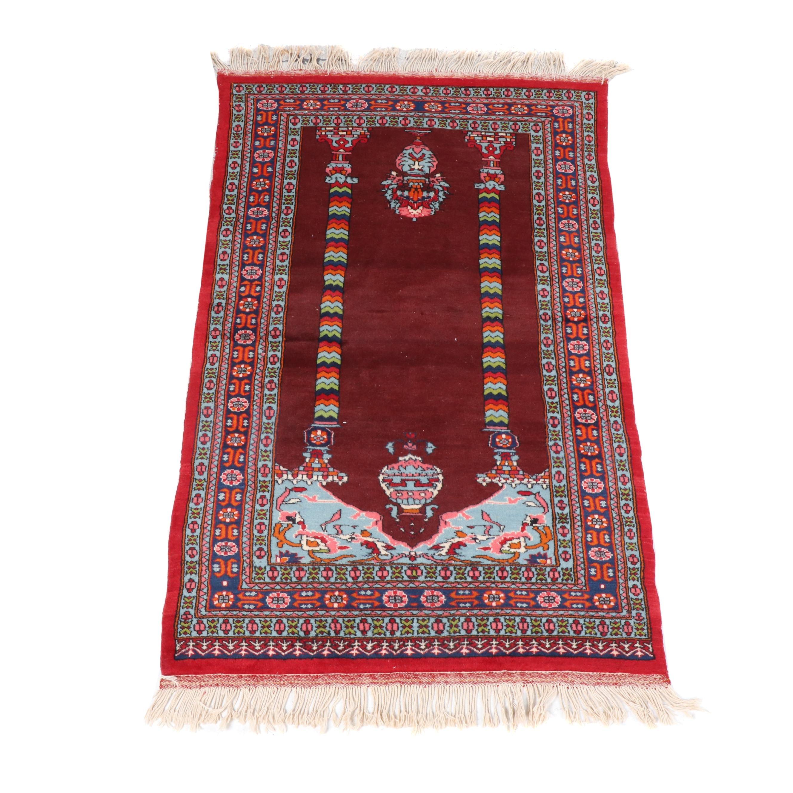 Hand-Knotted Turkish Wool Prayer Rug