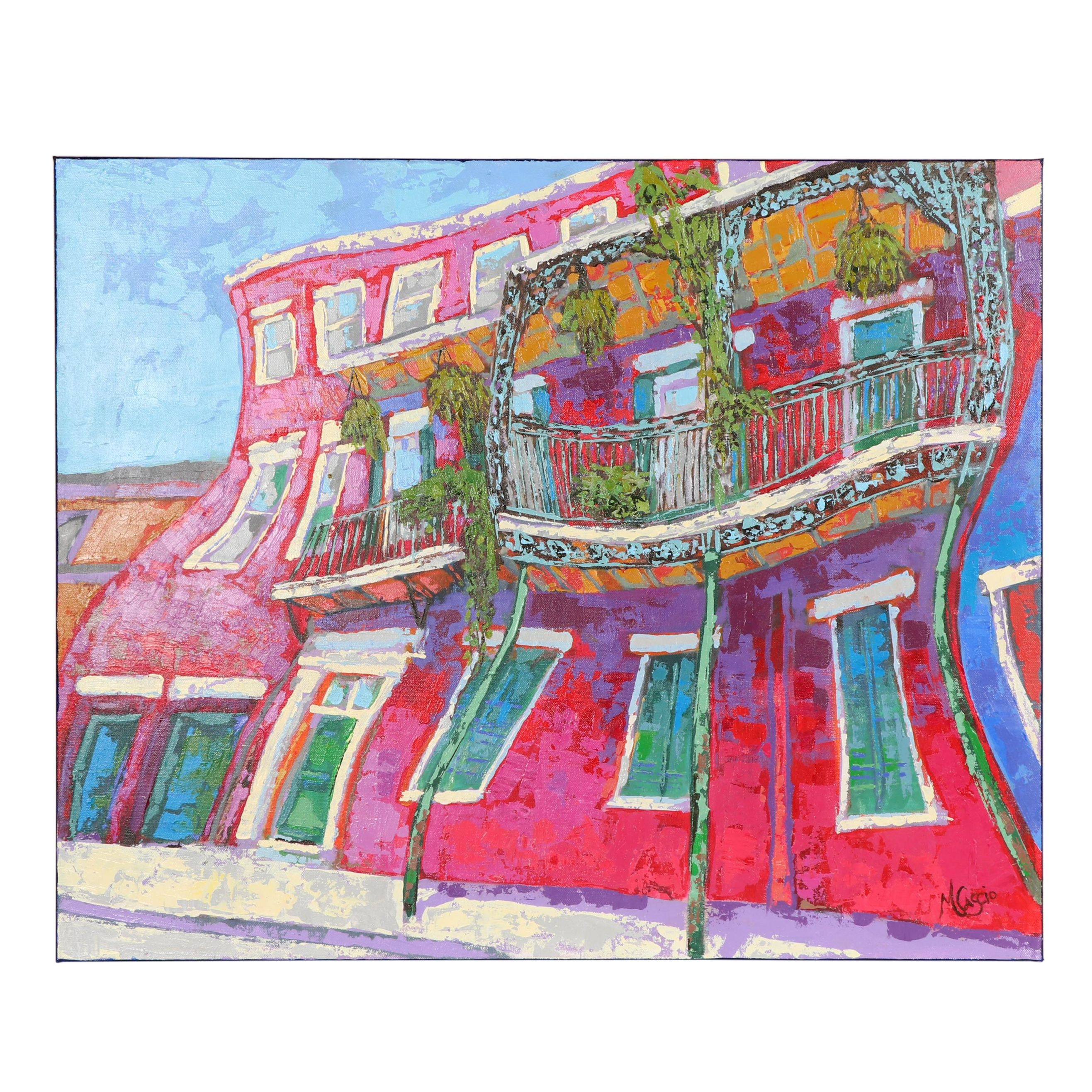 "Monica Cascio Oil Painting ""Red House in the Quarter"""