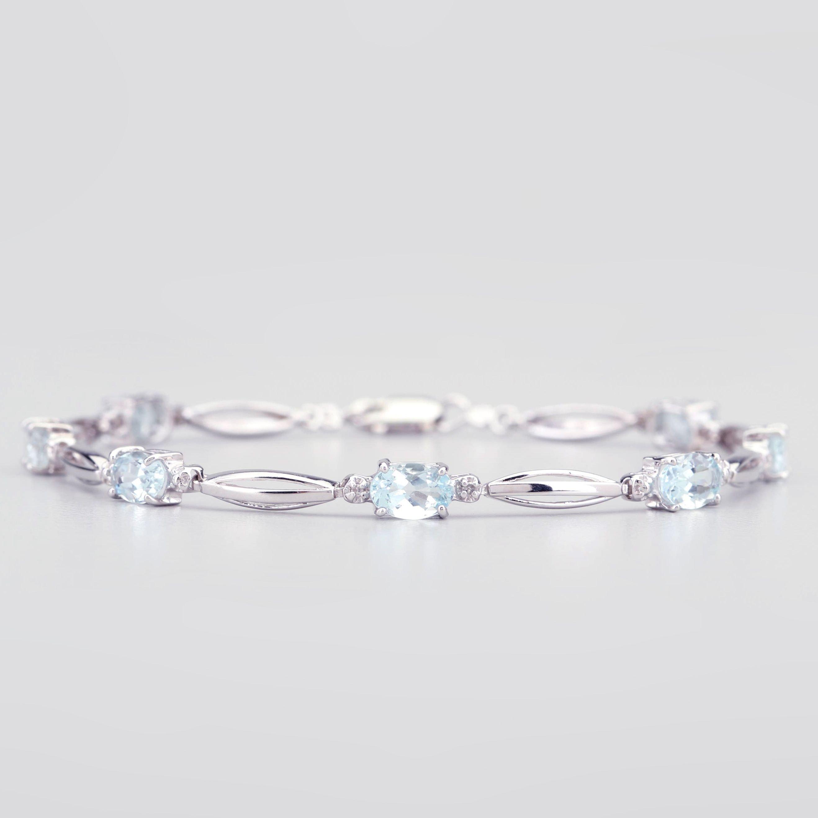 14K White Gold 2.82 CTW Aquamarine Bracelet