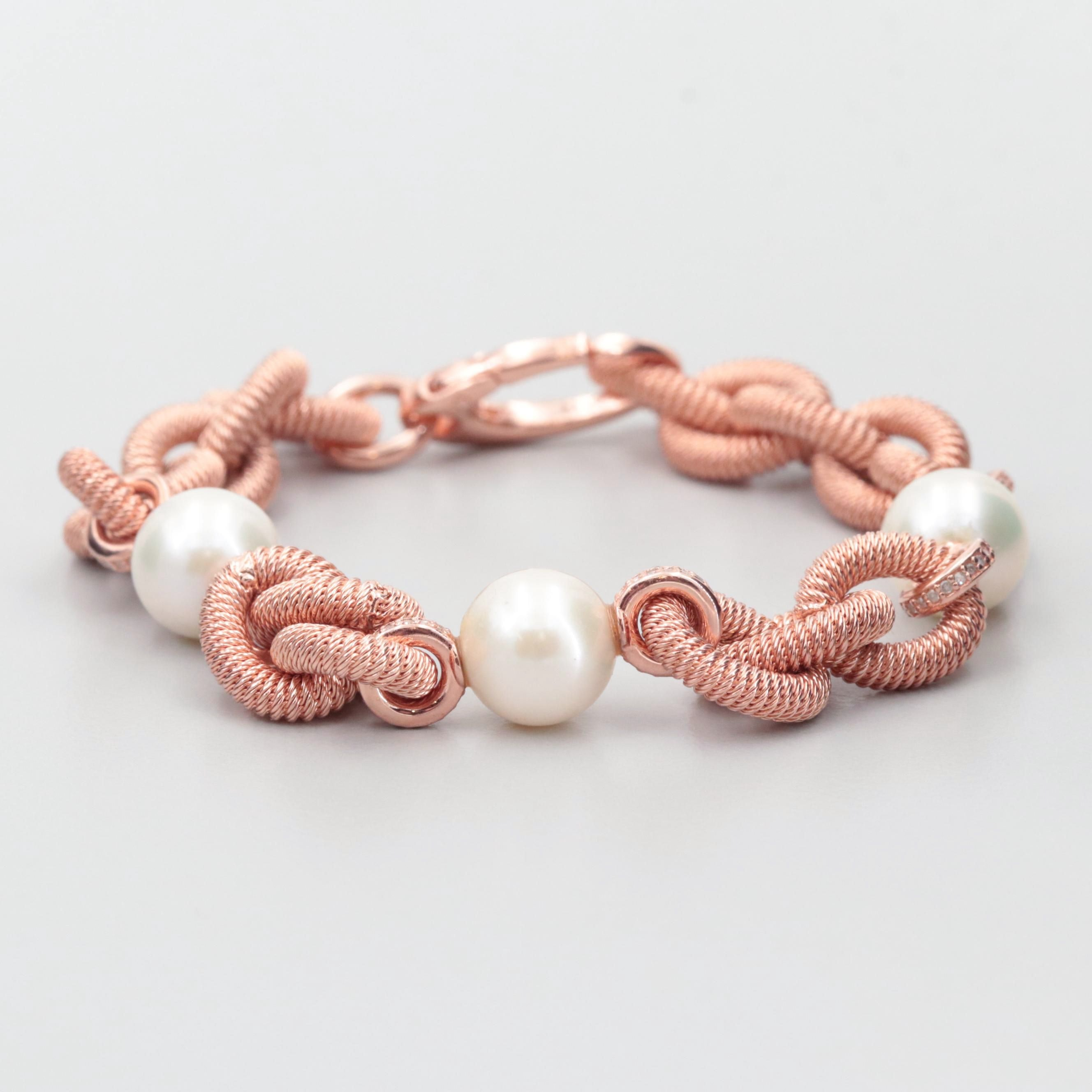 Rose Tone Wash on Sterling Silver Cultured Pearl and Diamond Cable Bracelet