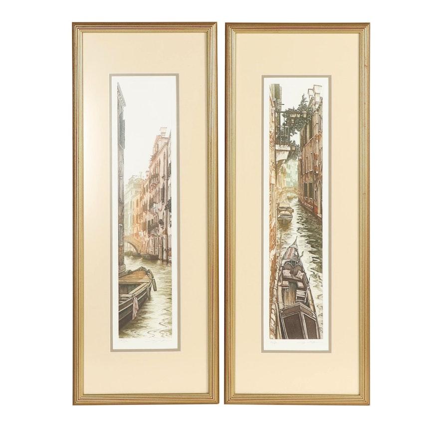 Venice Canals Intaglio Prints with Aquatint