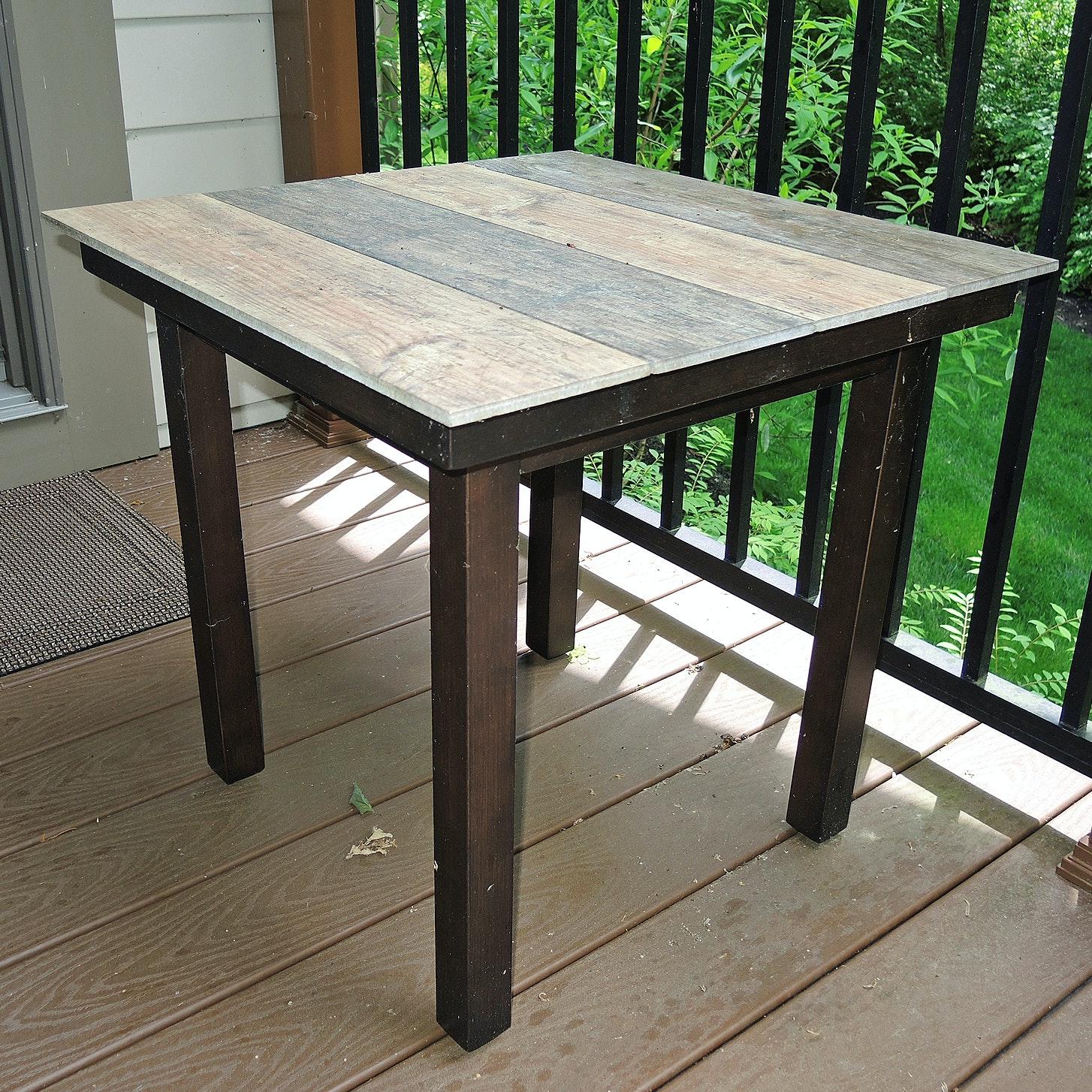 Contemporary Wood Grain Pattern Ceramic Tile Top Metal Side Table