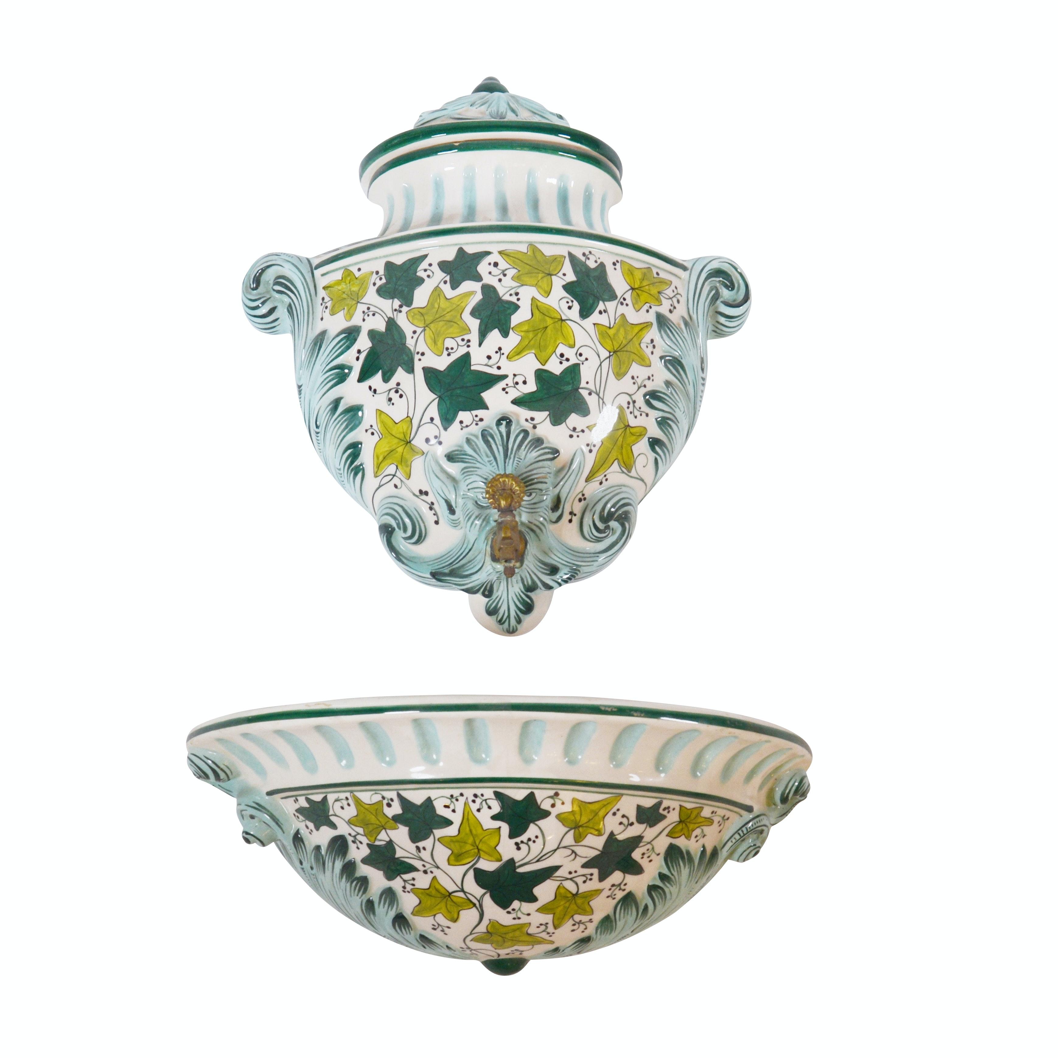 Italian Koscherak Brothers Hand-Painted Ceramic Lavabo, Mid to Late 20th Century