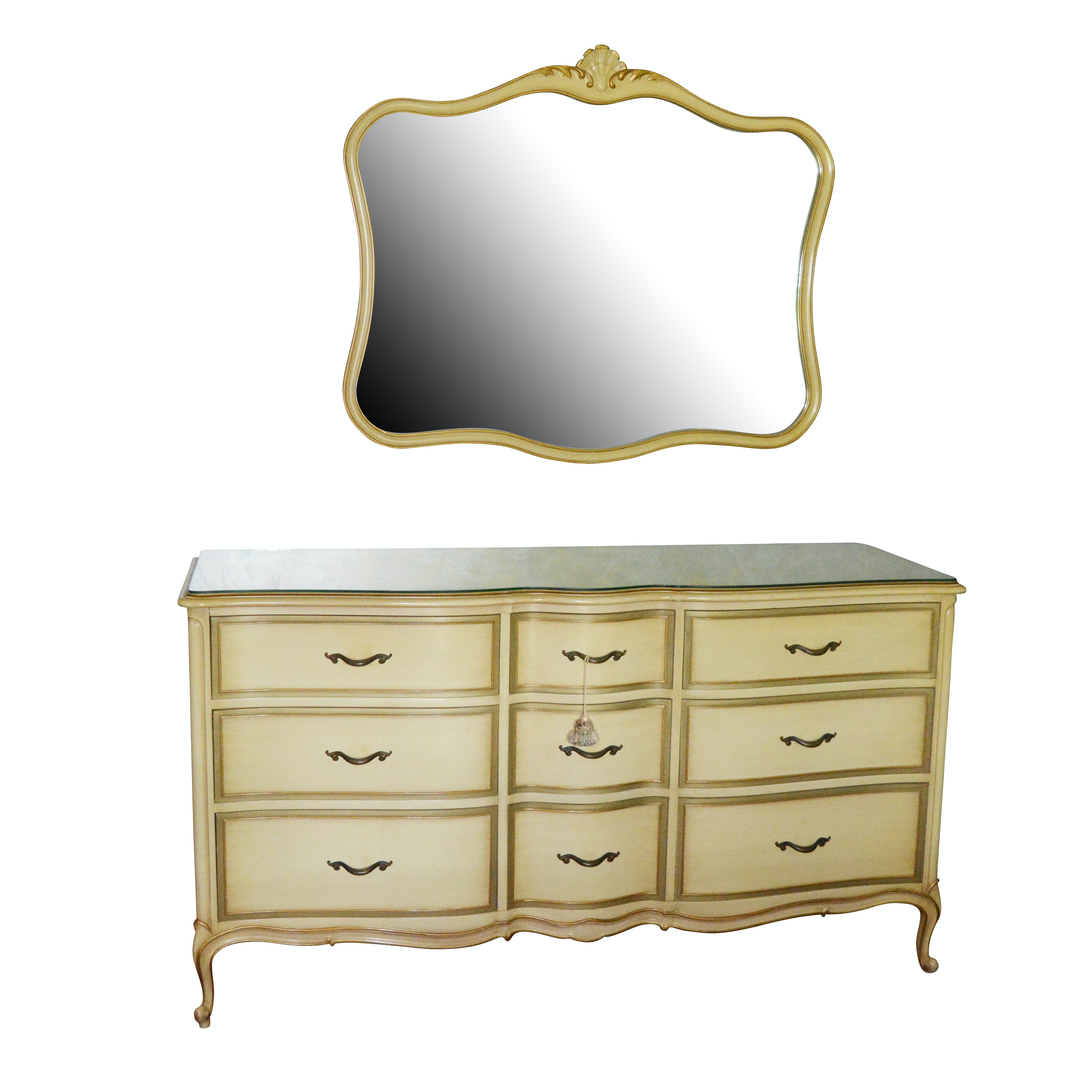 "Drexel ""Touraine Collection"" French Provincial Style Dresser with Wall Mirror"