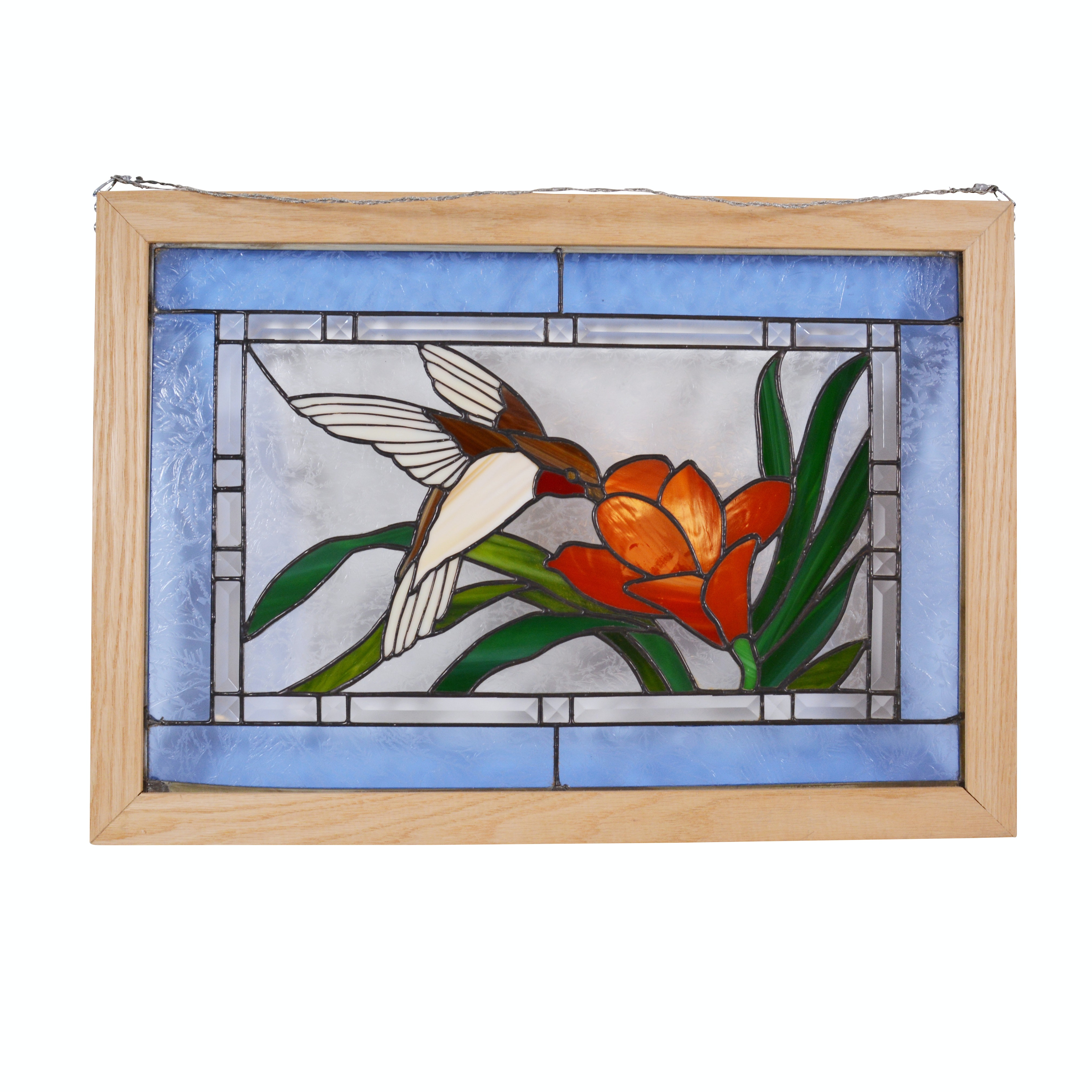 Stained Glass Hummingbird Hanging Window Panel