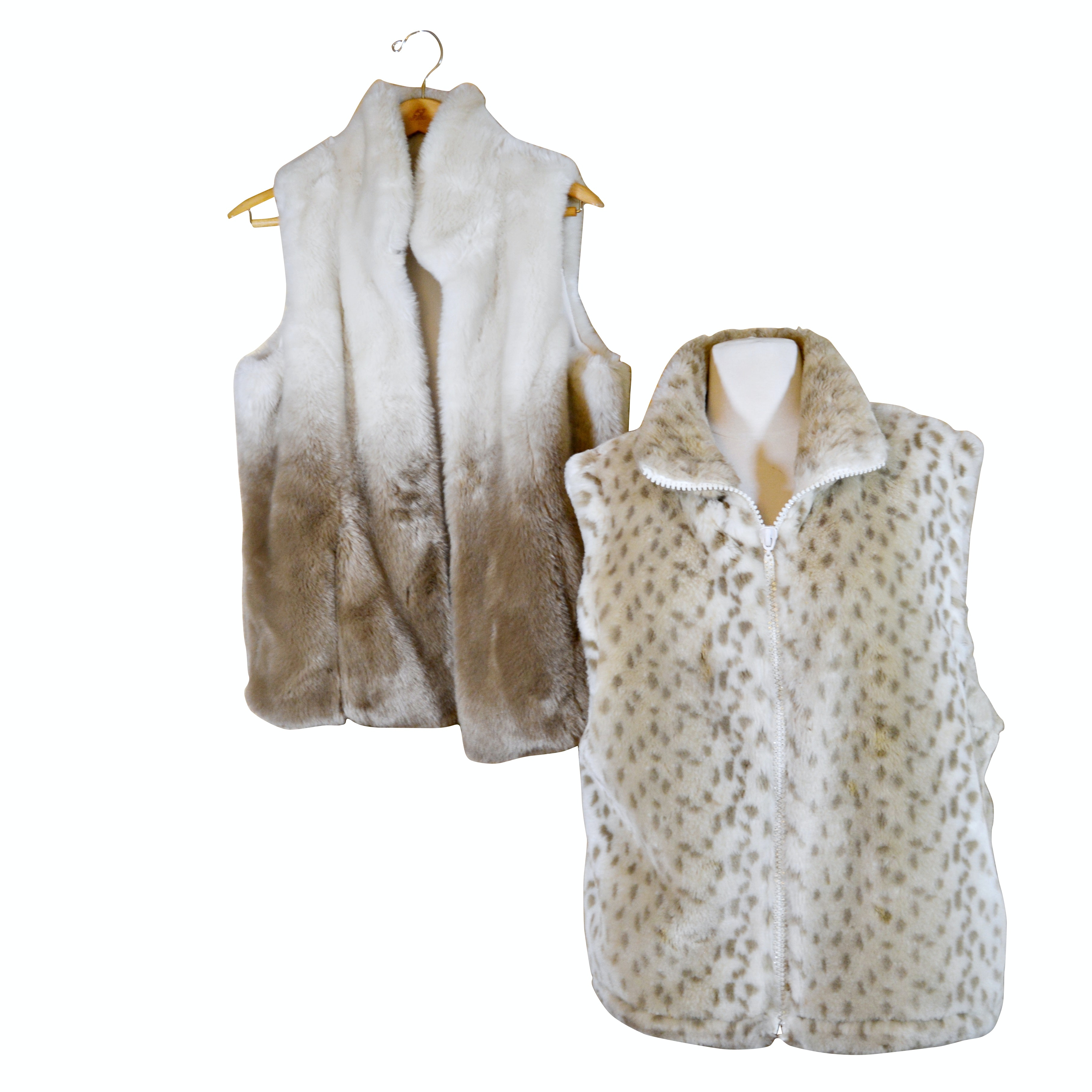 Chico's and Black Mountain Faux Fur Vests