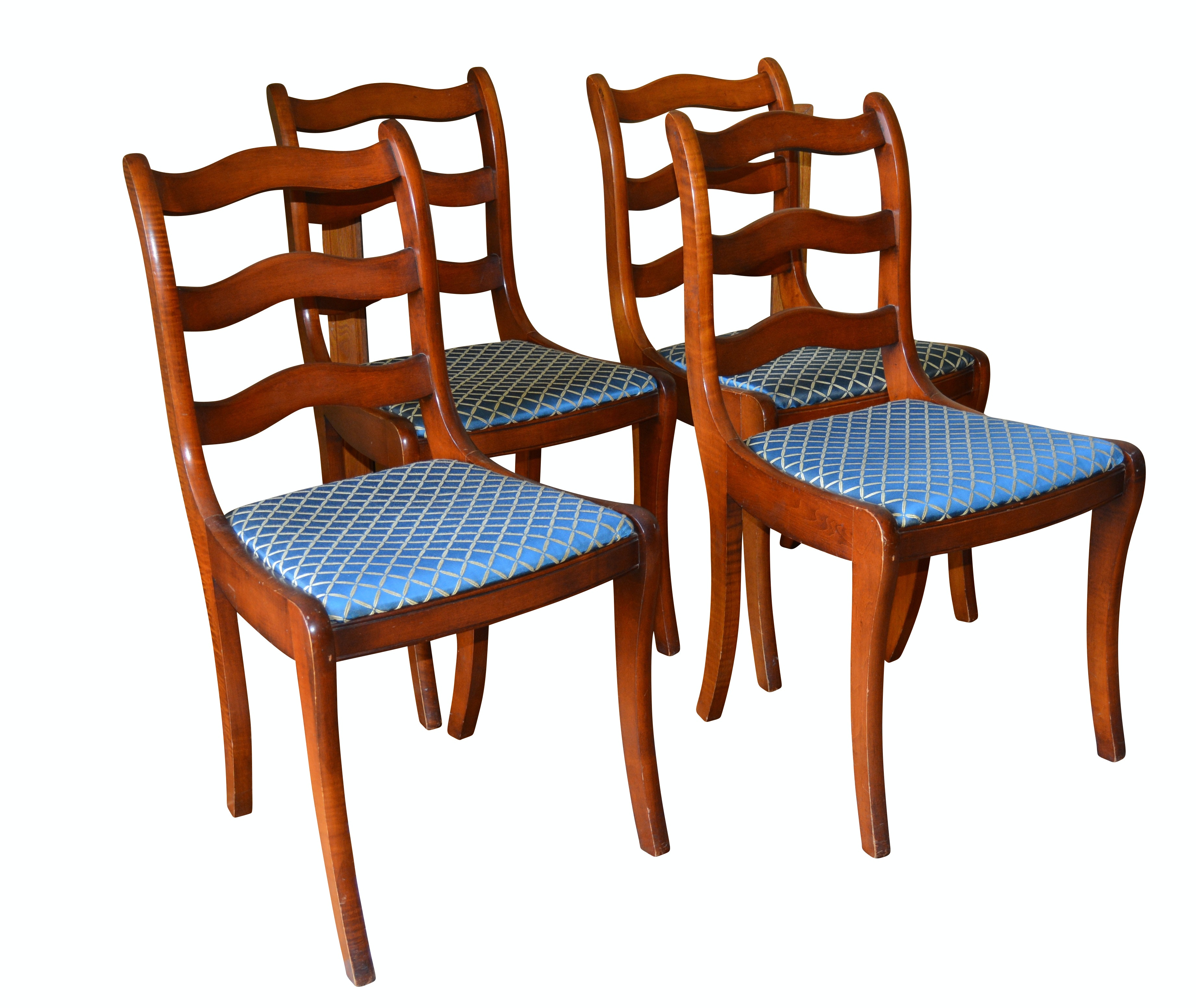 Set of Four Charlotte Chair Co. Mahogany Side Chairs, Mid-20th Century