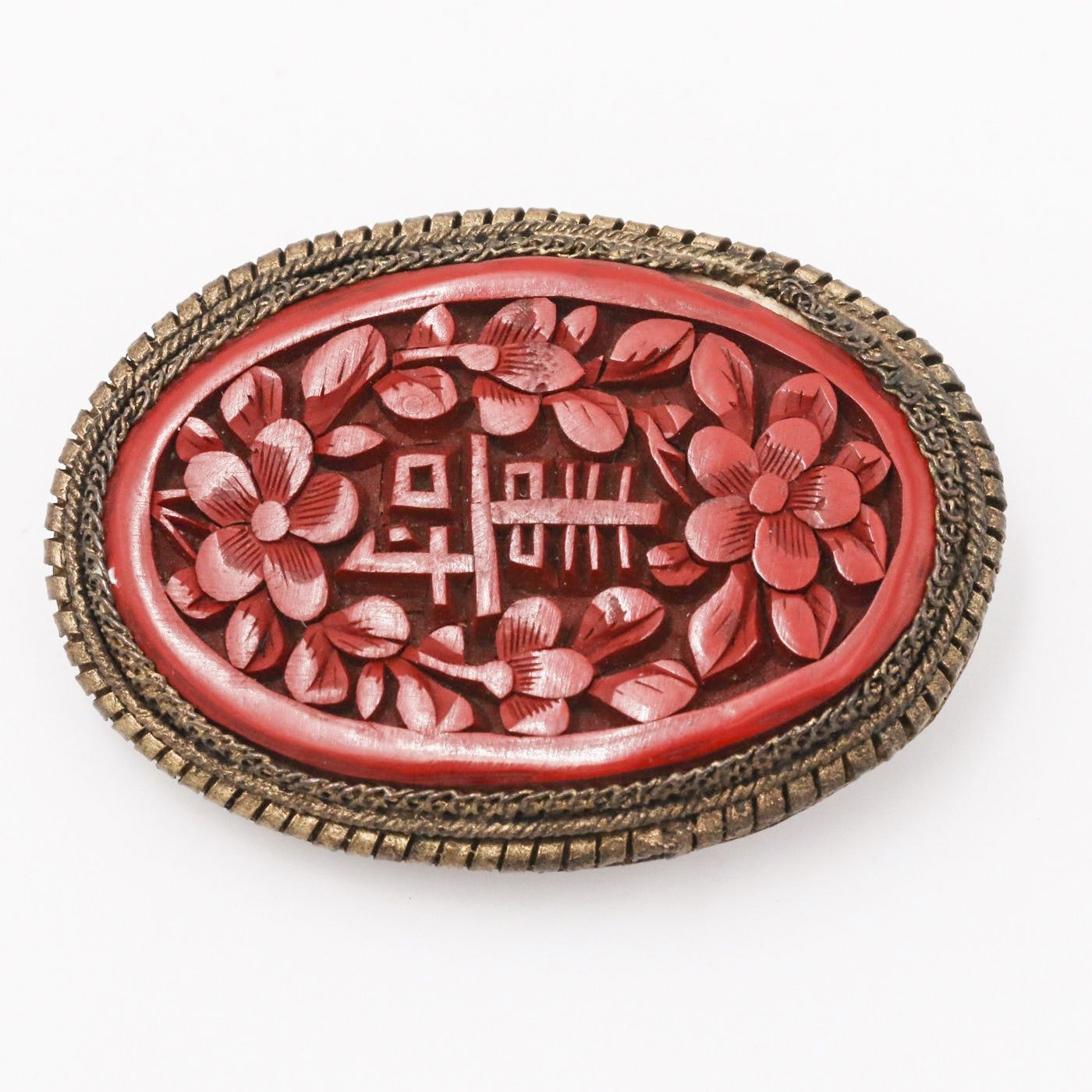 Chinese Carved Cinnabar Brooch