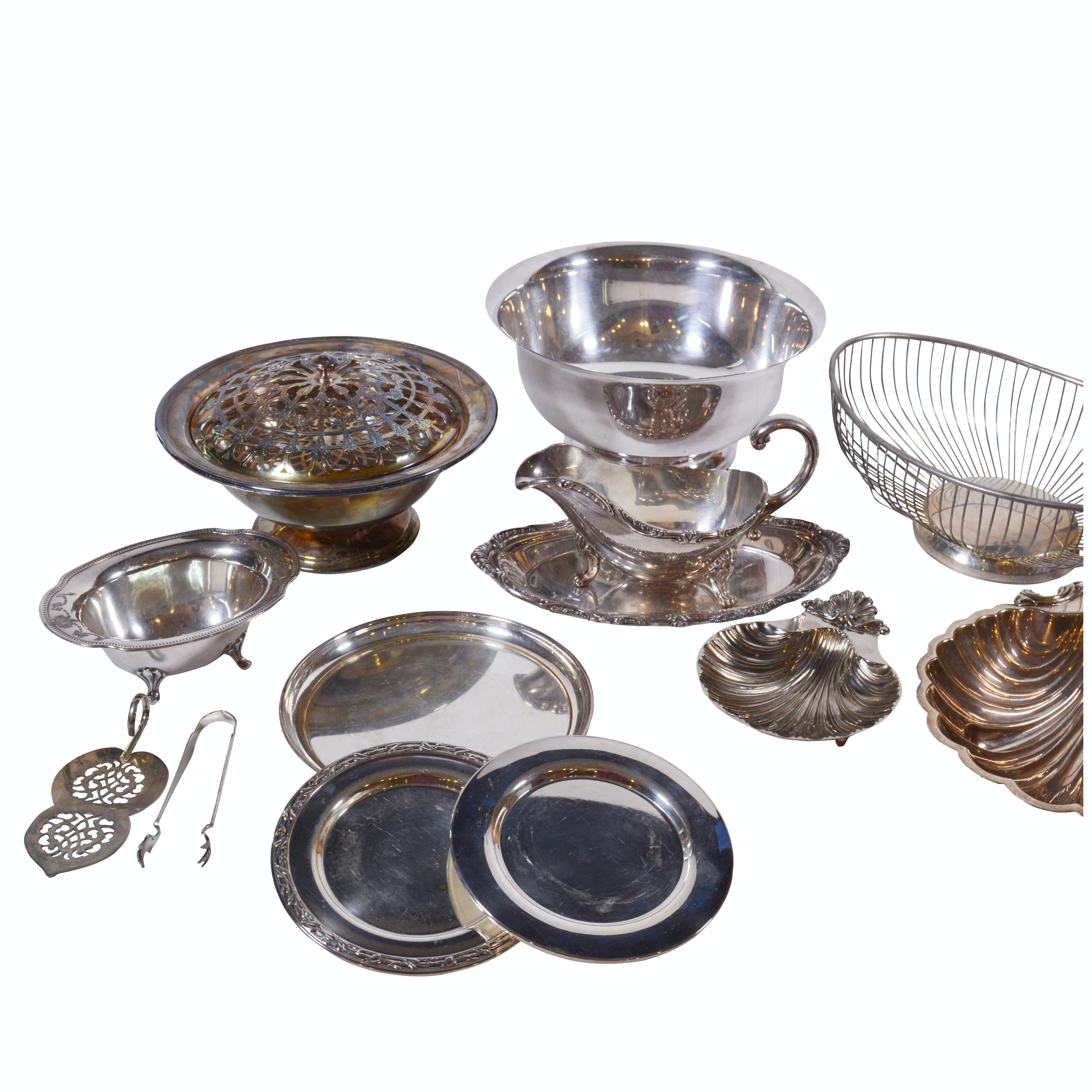 Paul Revere Reproduction Silver Plate Bowl and Other Silver Plate