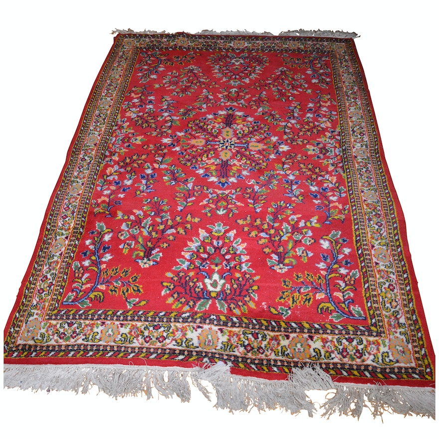 Hand-Knotted Indo-Persian Mehriban Style Wool Rug