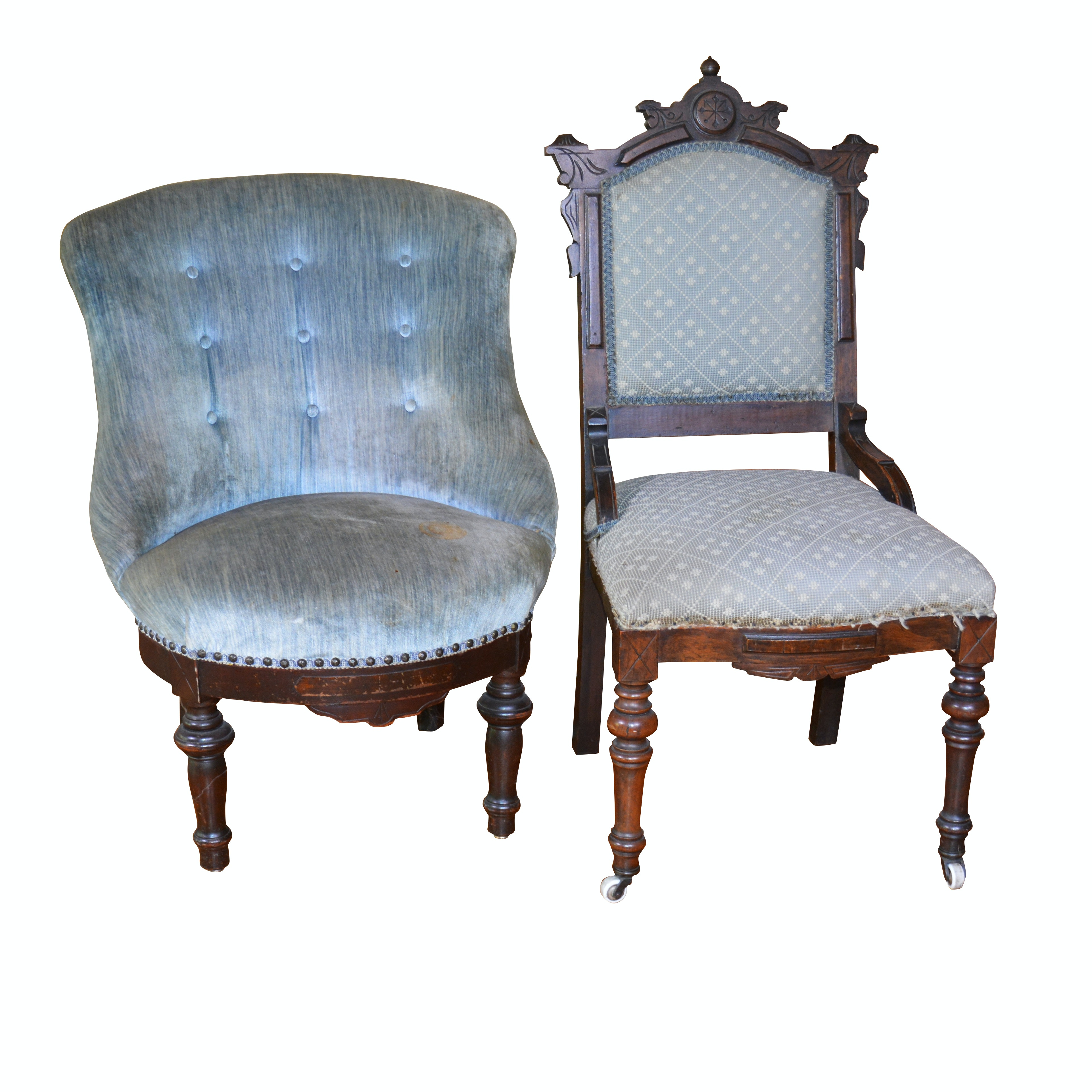 Victorian Upholstered Walnut Parlor Chairs, Mid to Late 19th Century