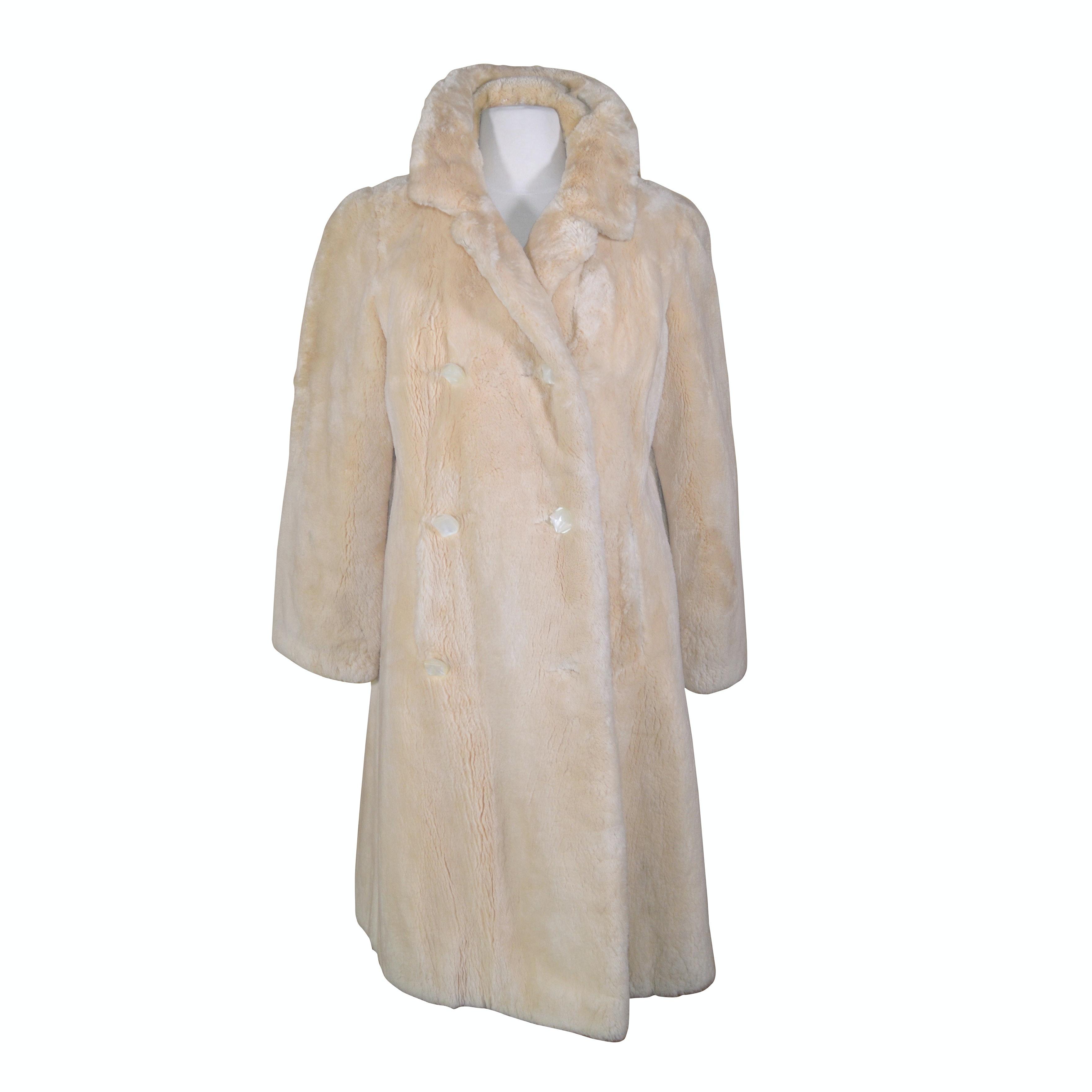 Women's Neiman-Marcus Sheared White Mink Fur Double-Breasted Coat
