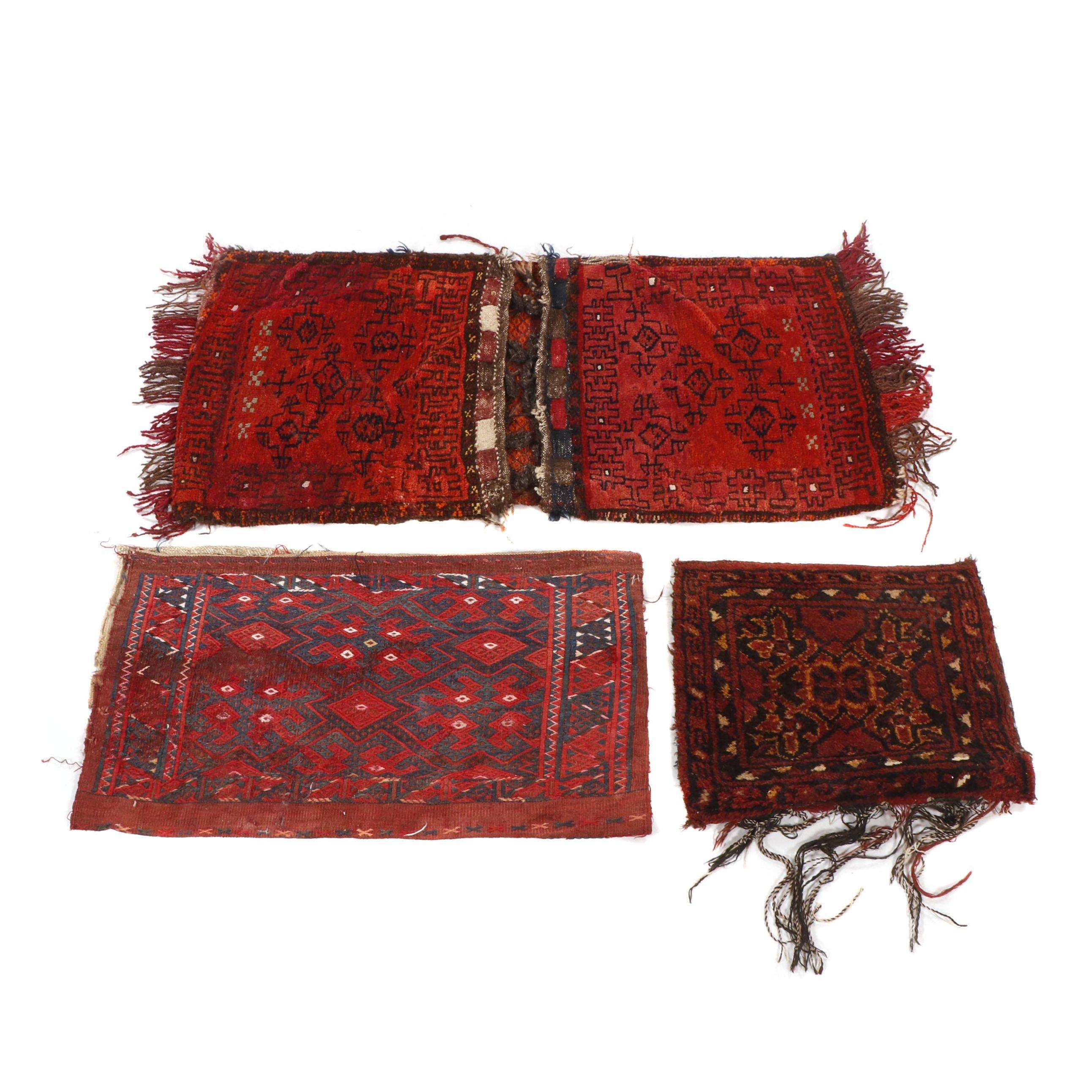 Hand-Knotted Khorjin and Suzani Wool Saddle Bags and Bag Facings