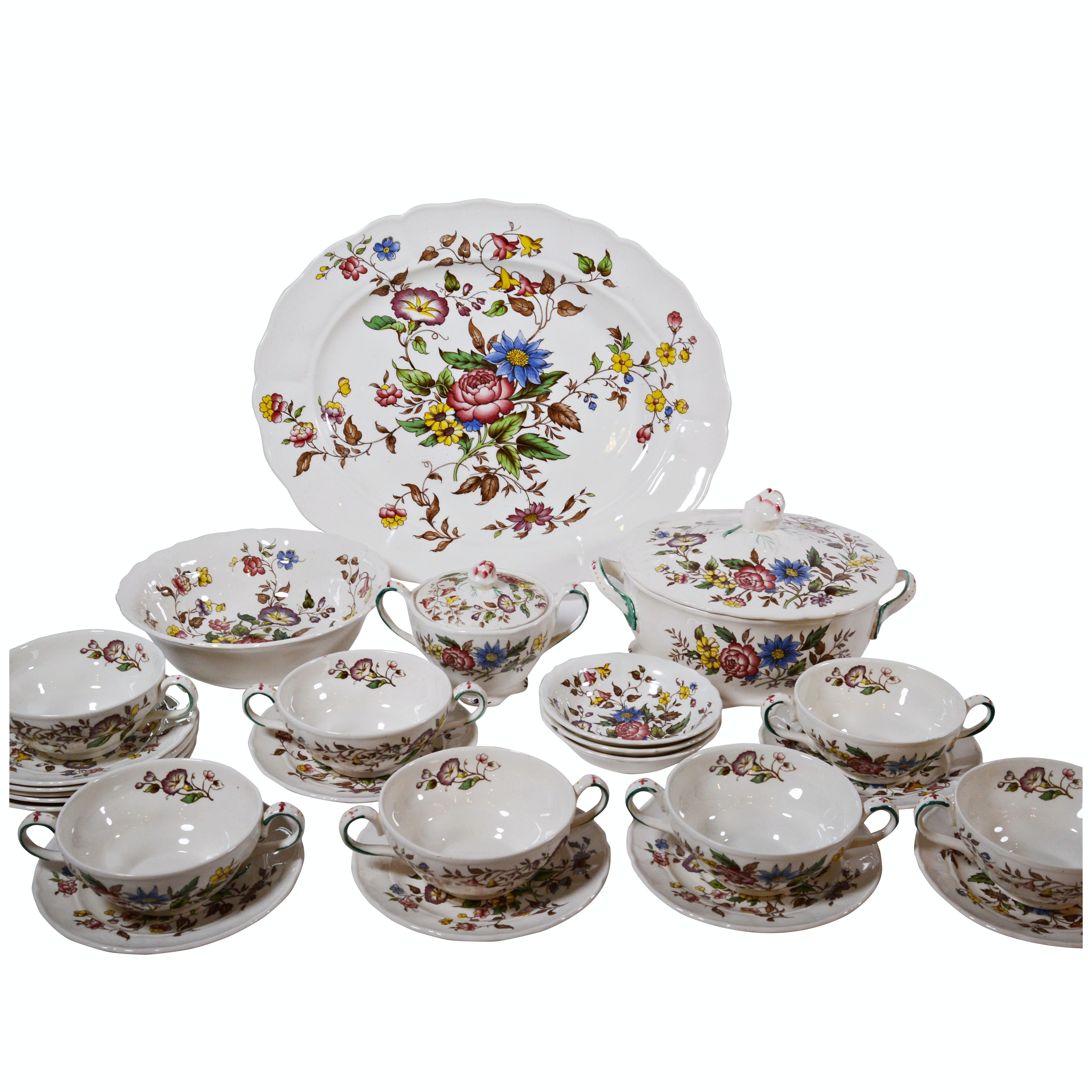 "Grindley ""Celia"" Porcelain Casserole, Platter and Dinnerware"