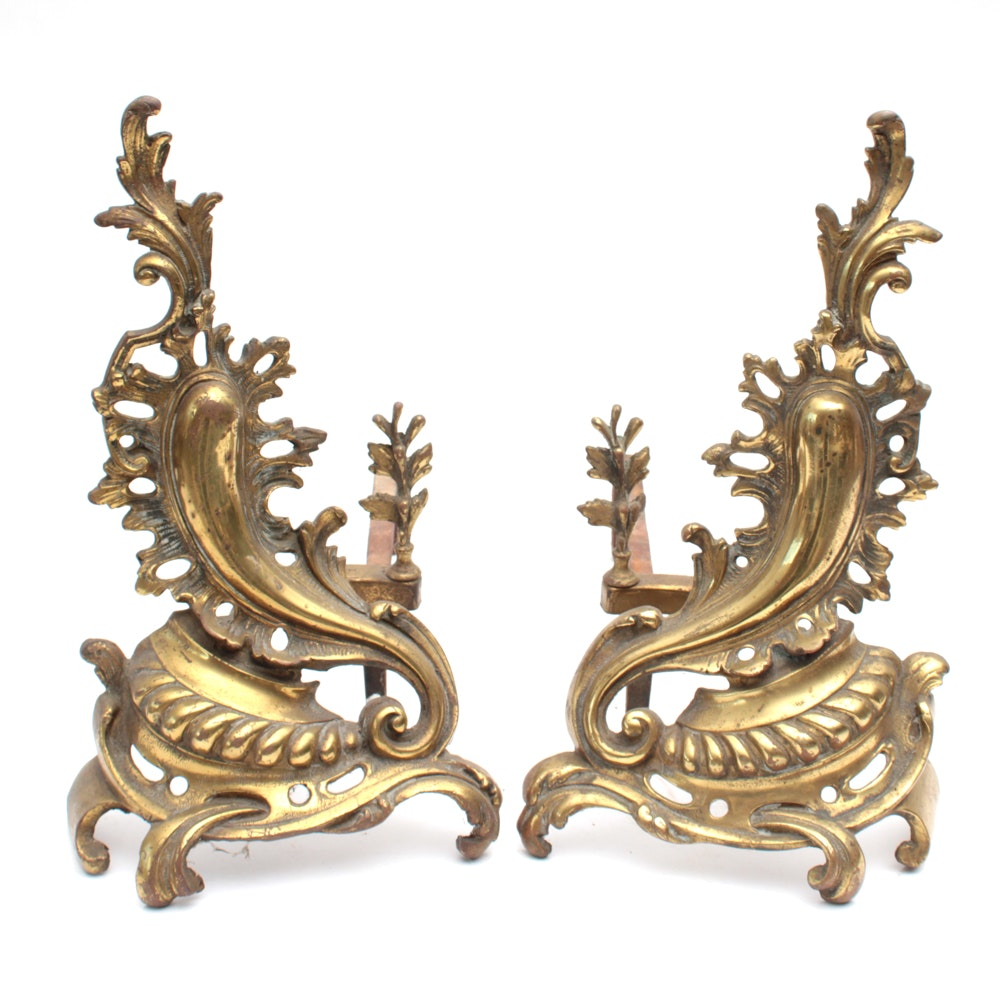 Late 19th Century French Gilt Brass Chenets