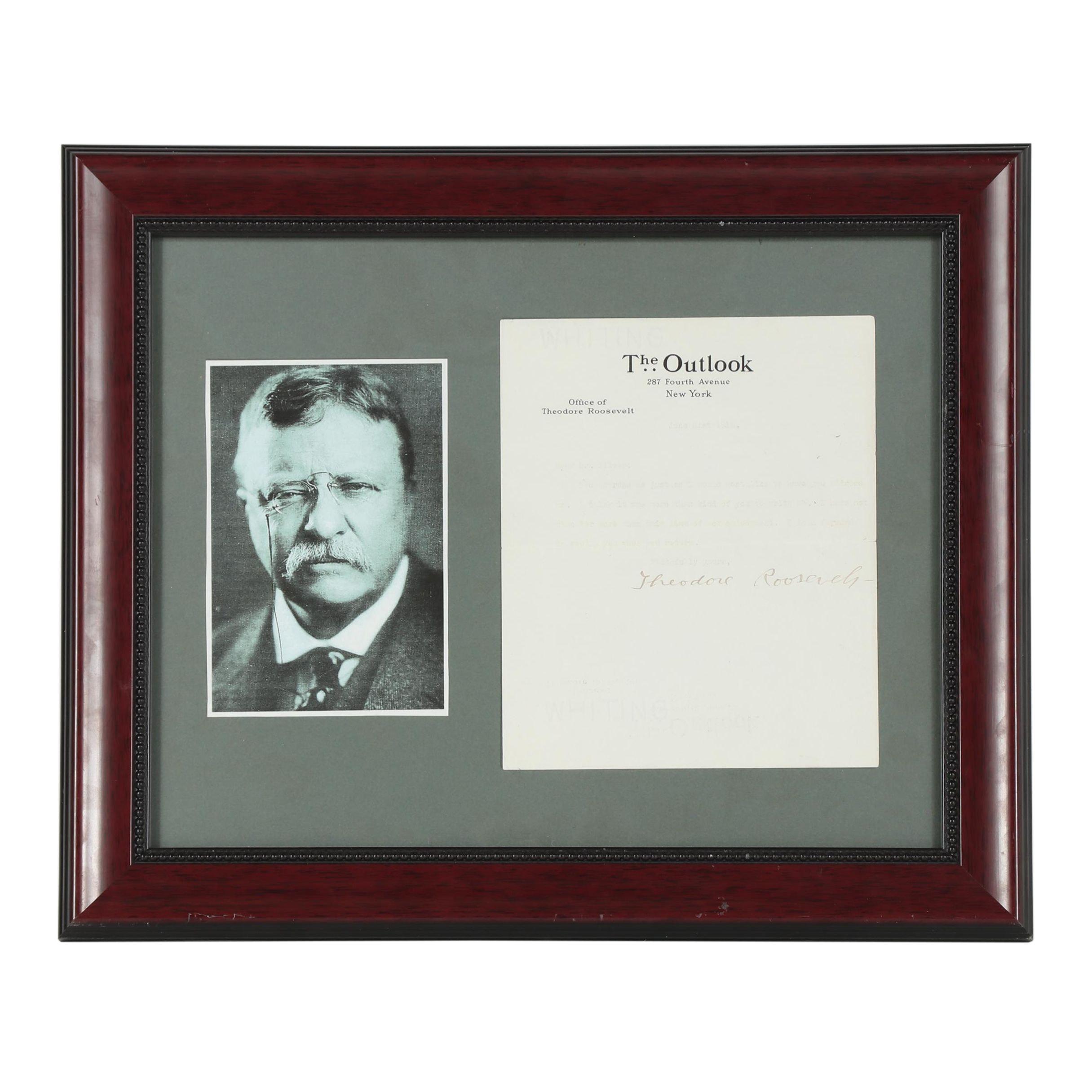 Teddy Roosevelt Typed Letter Signed June 21, 1910