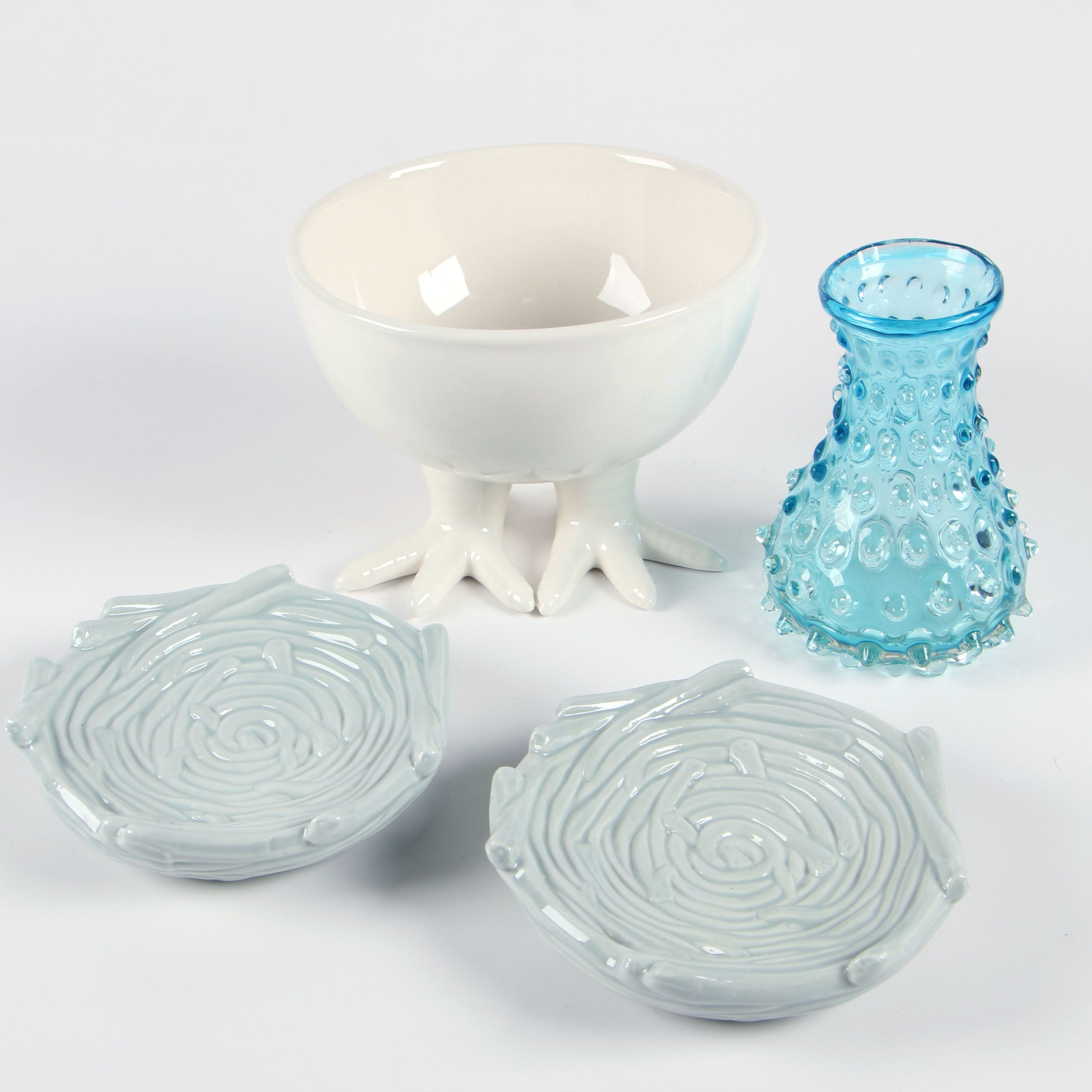 Ceramic Chicken Footed Bowl with Nest Dishes and Hobnail Glass Vase