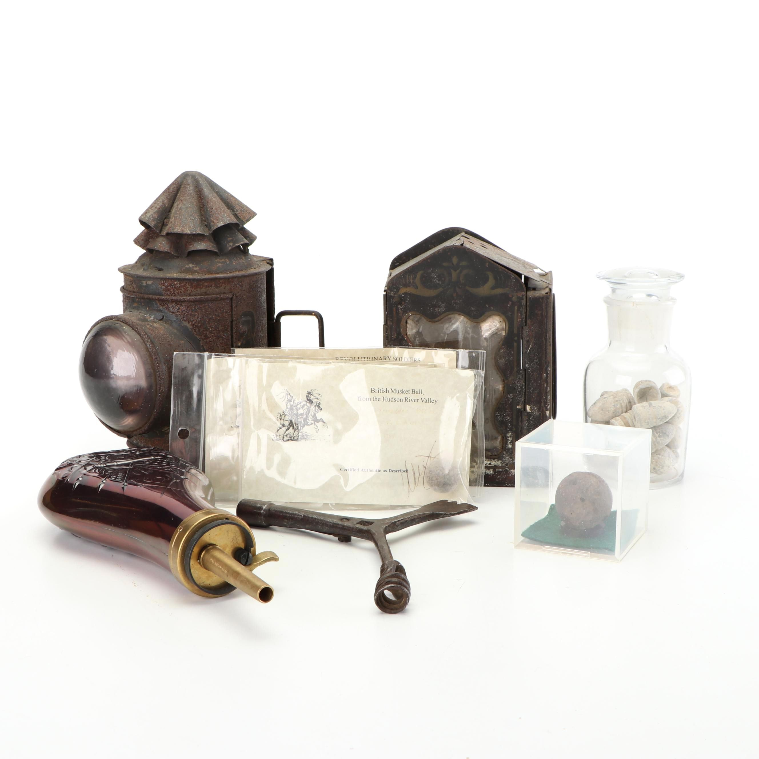 Assortment of Antique Projectiles, Tools, and Lanterns