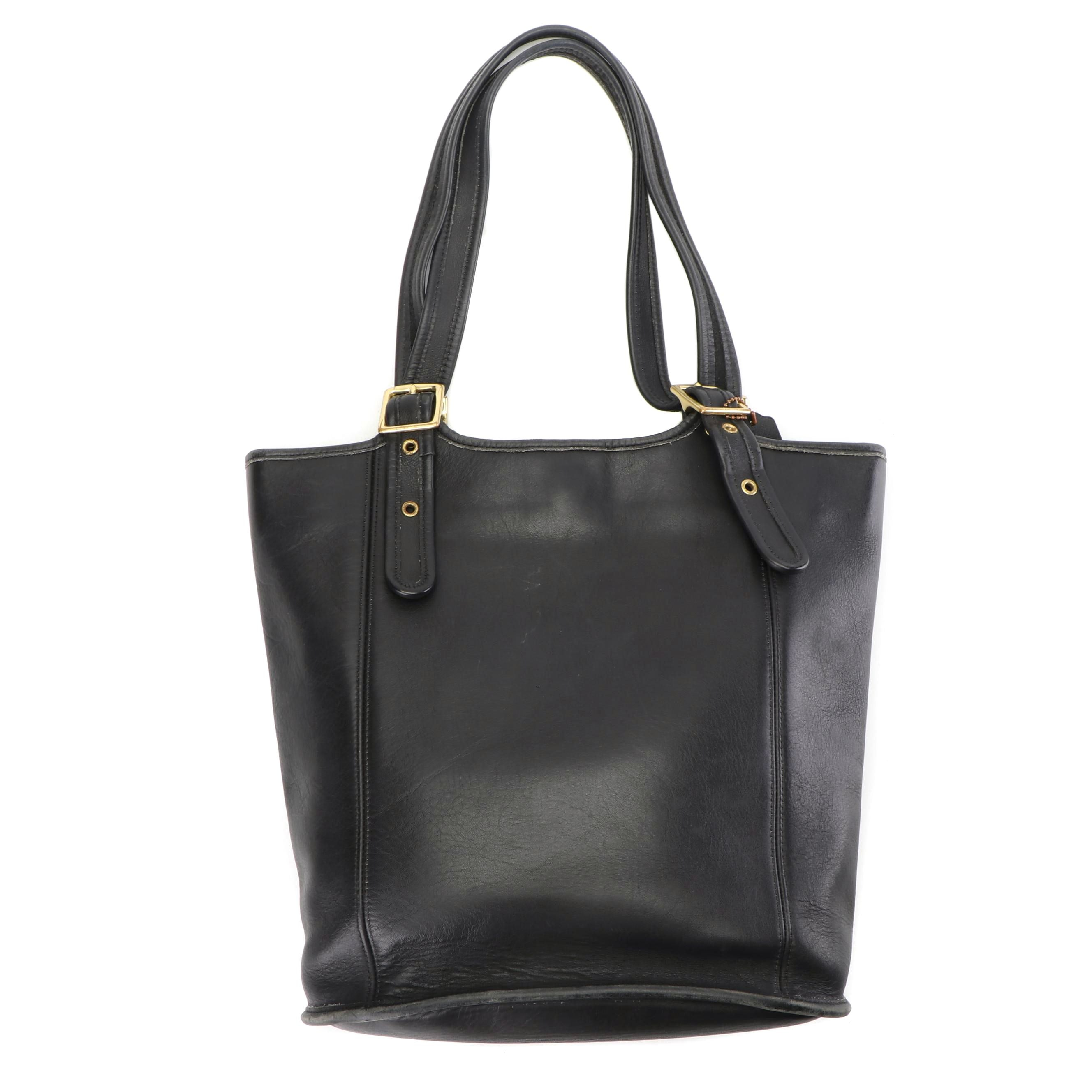 Coach Black Leather Bucket Tote