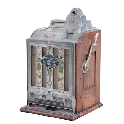 Oak and Metal Tabletop Candy Vending Machine by O. D. Jennings & Co., 1920s