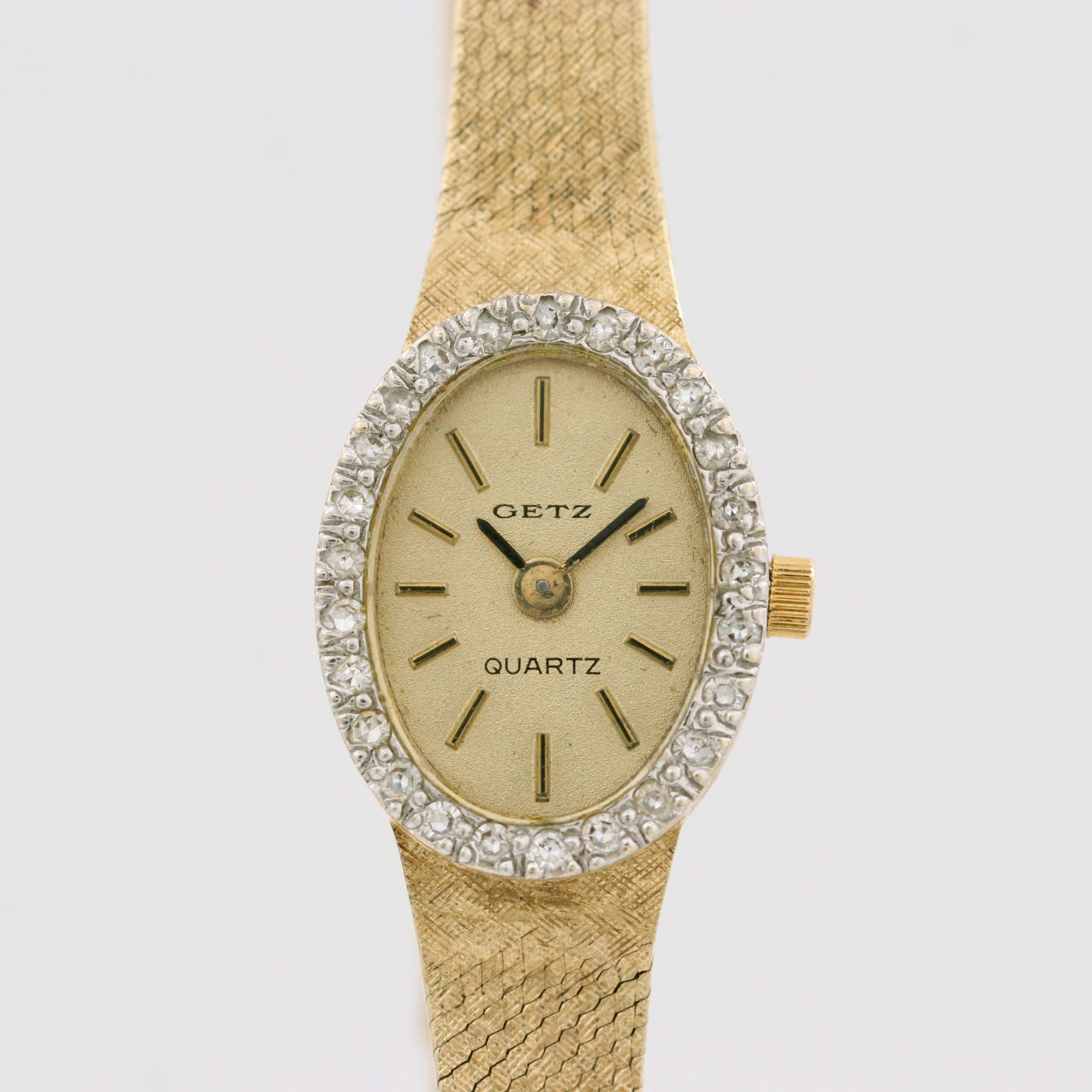 Vintage Getz 14K Gold Quartz Wristwatch With Diamond Bezel