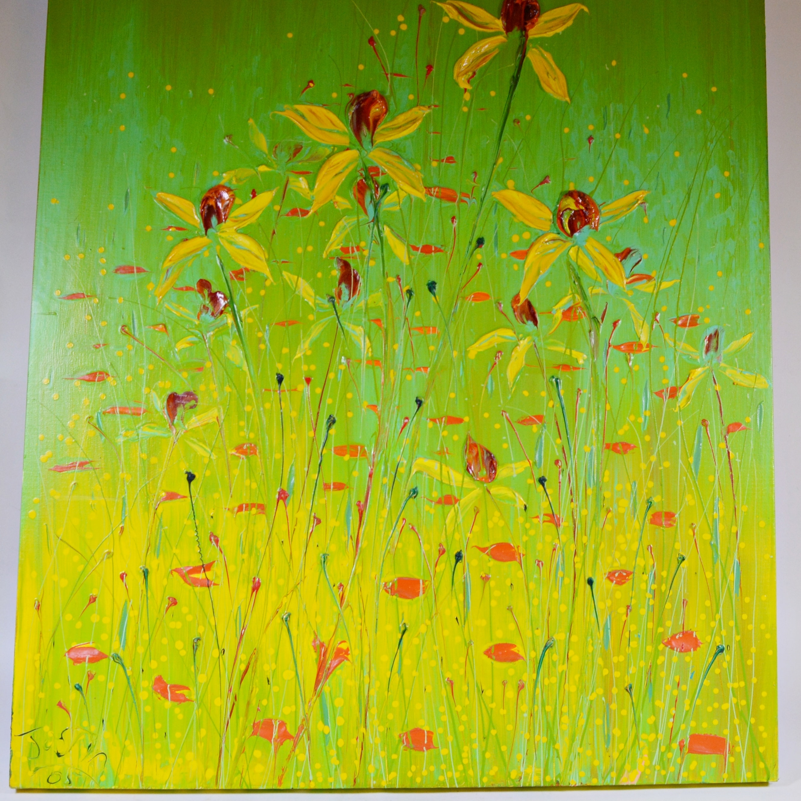 20th Century Floral Acrylic Painting