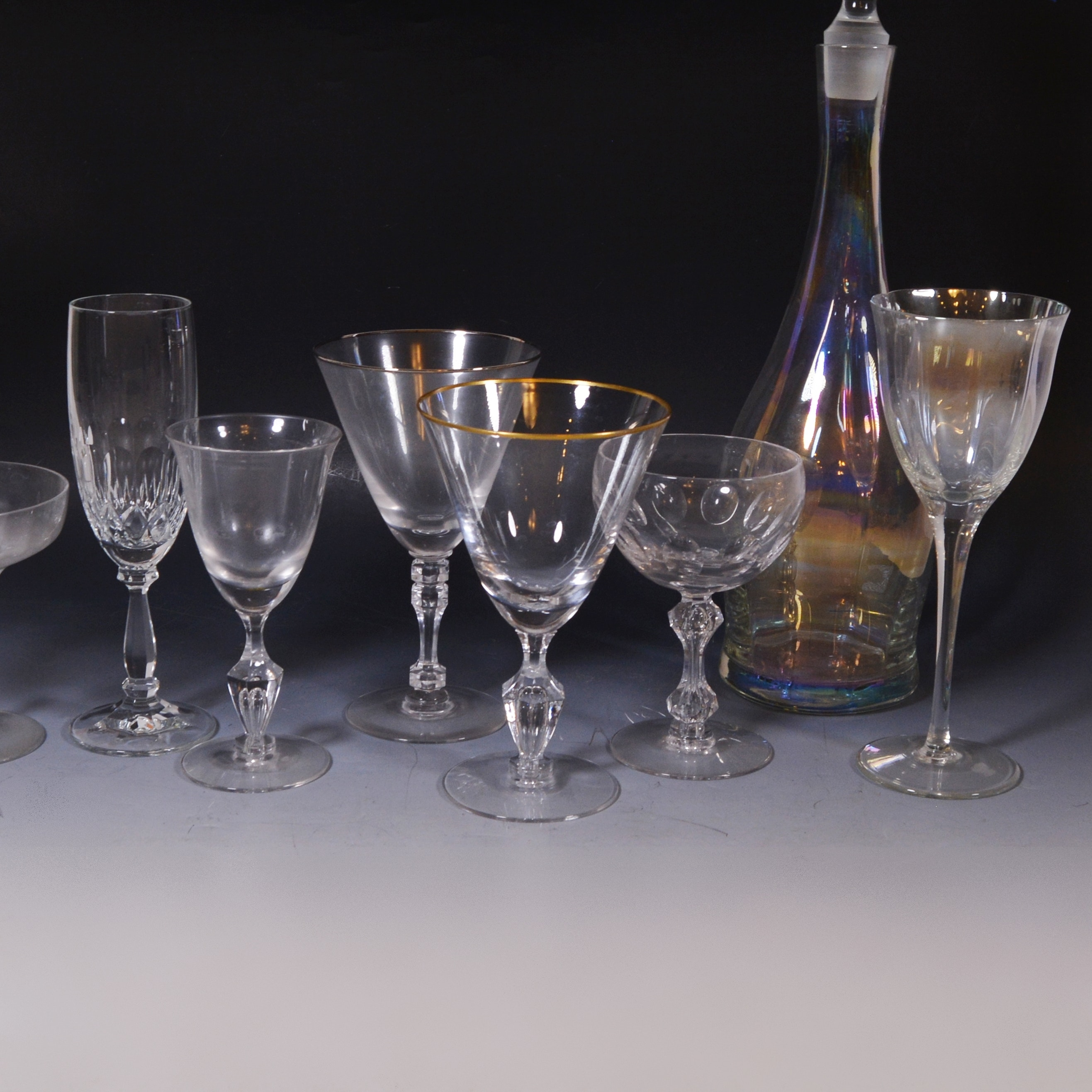 Iridescent and Clear Stemware with Decanter
