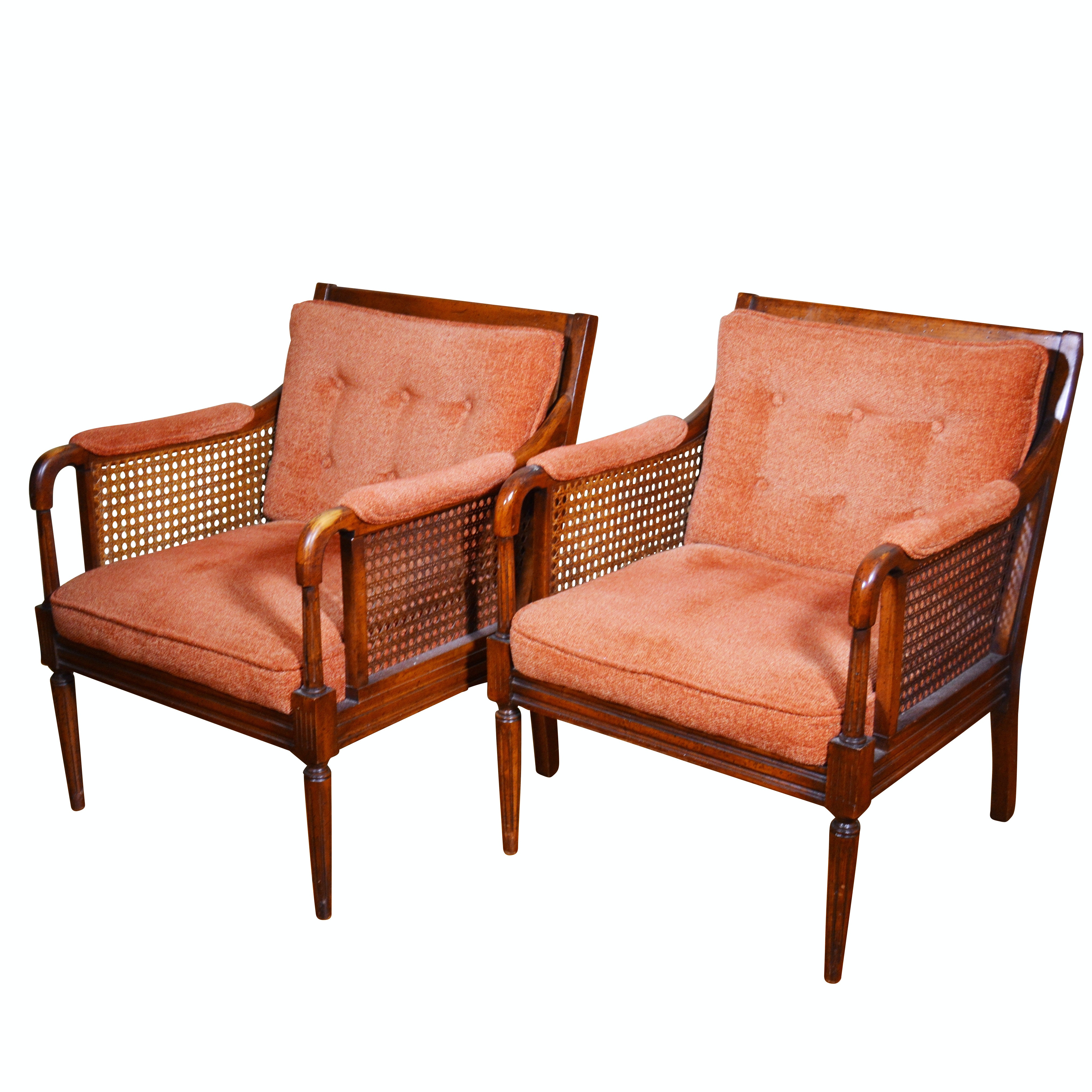 Cane and Fruitwood Upholstered Armchairs, Mid-Late 20th Century