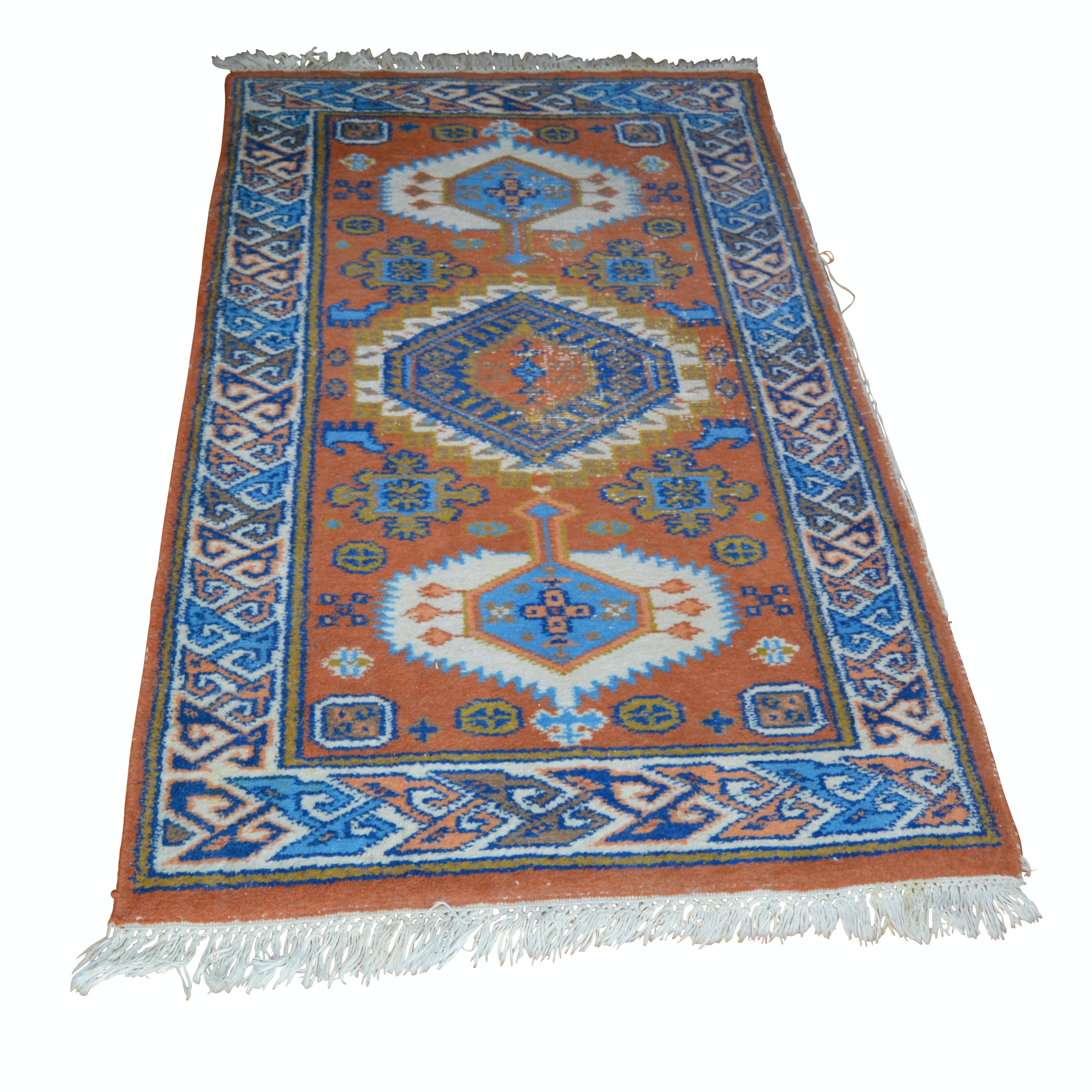 Hand-Knotted Indo-Caucasus Kazak Style Wool Area Rug