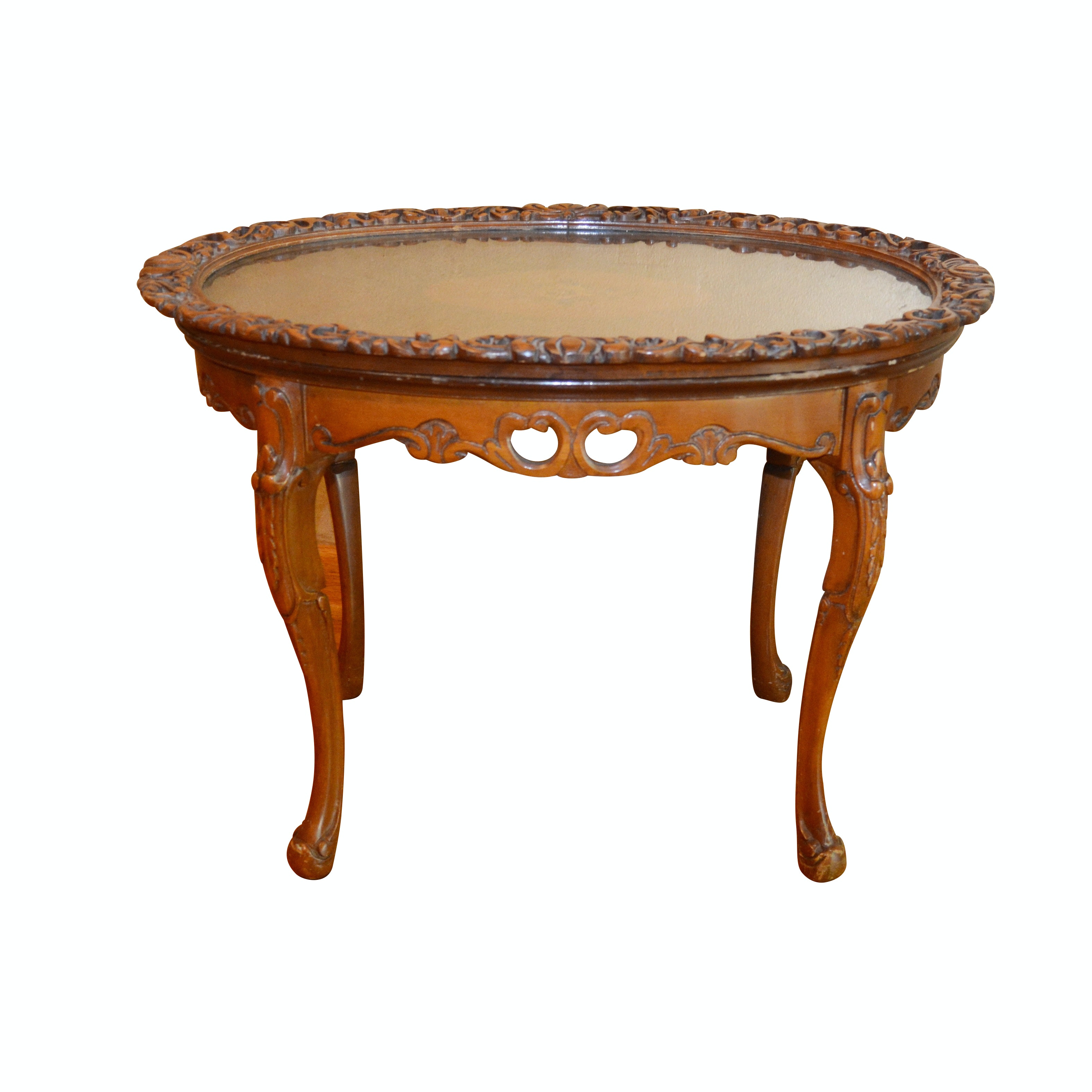Rococo Style Carved Edge Glass Top Marquetry and Fruitwood Table, 20th Century