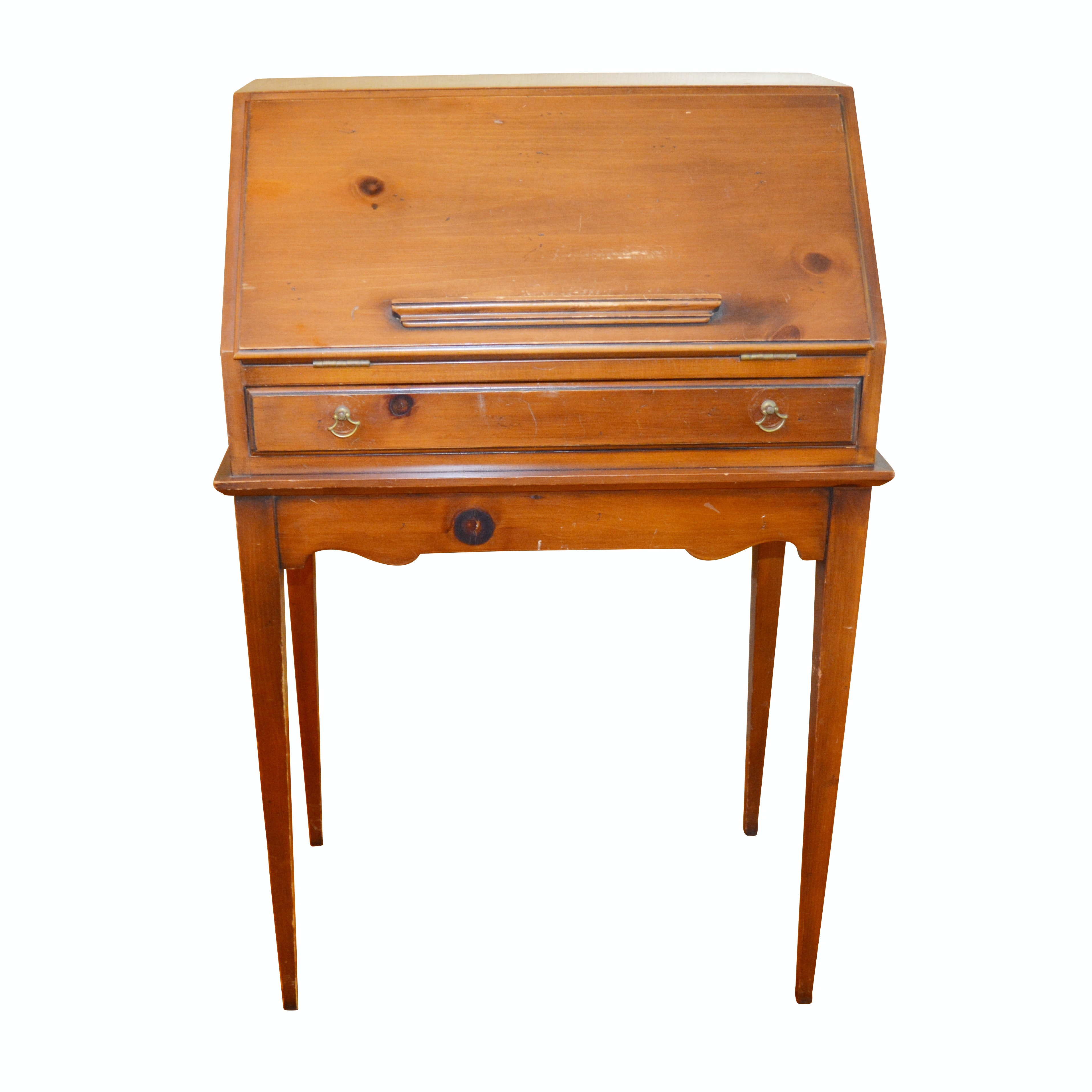 Colonial Revival Pine Fall Front Writing Desk, Mid 20th Century