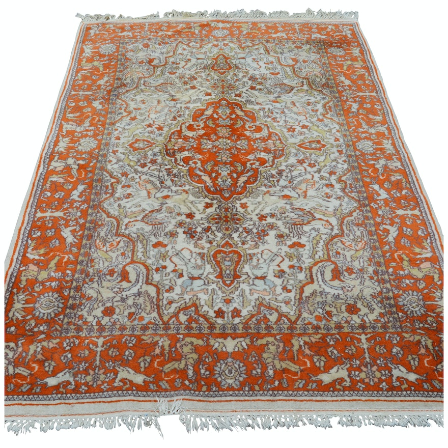 Hand-Knotted Indo-Persian Pictorial Wool Area Rug