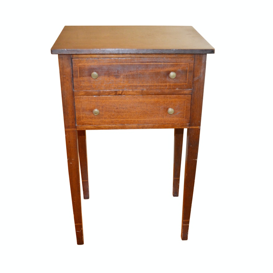 Federal Style String-Inlaid Mahogany Two Drawer Table, Mid-20th Century
