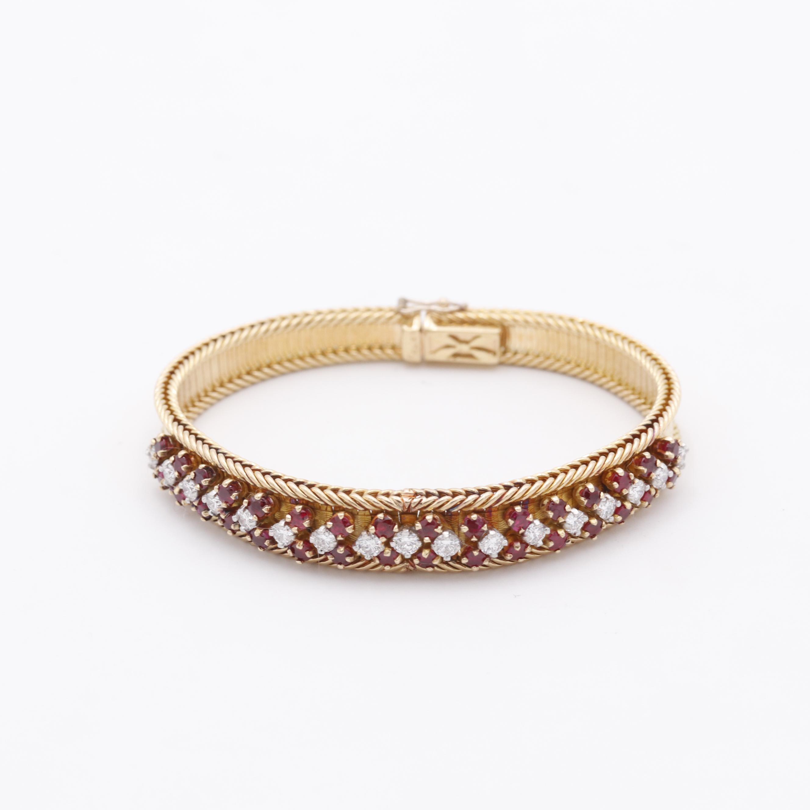 18K Yellow Gold Ruby Diamond Fashion Bracelet