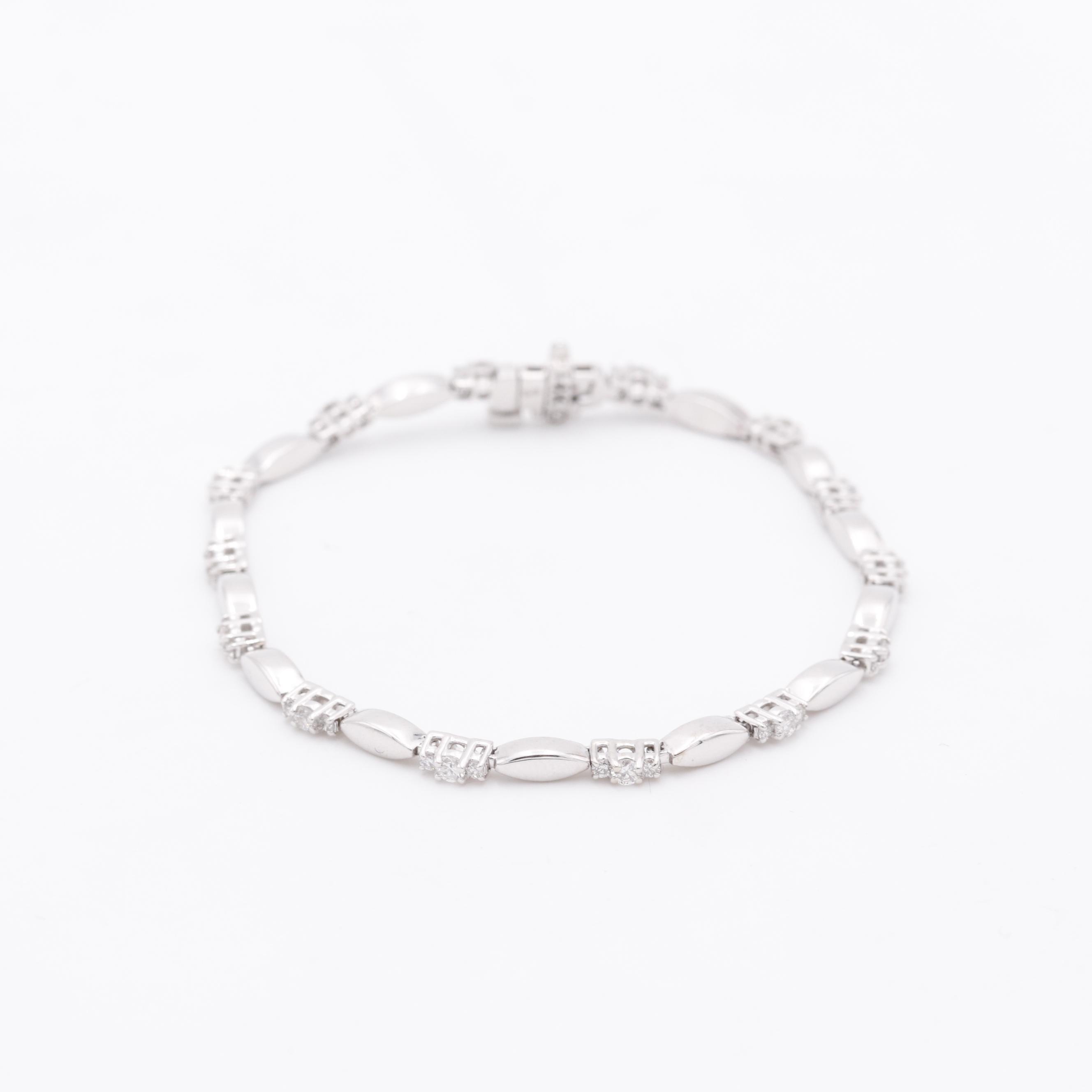 14K White Gold 0.99 CTW Diamond Bracelet
