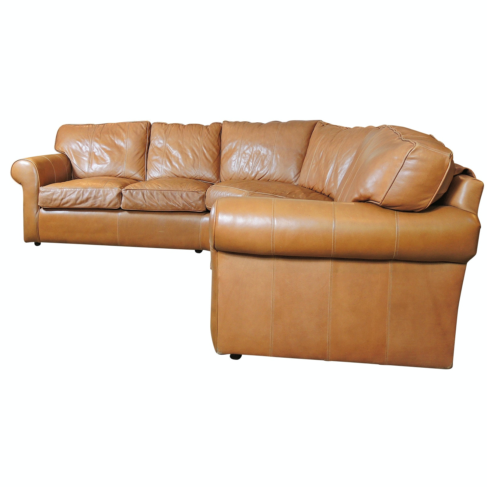 Arhaus Brown Leather Sectional Sofa, Late 20th Century