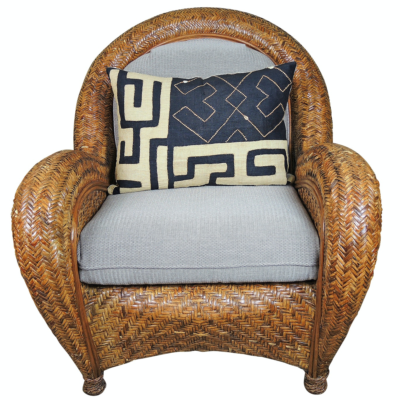 Contemporary Wicker Armchair and Accent Pillow Attributed to Pier One