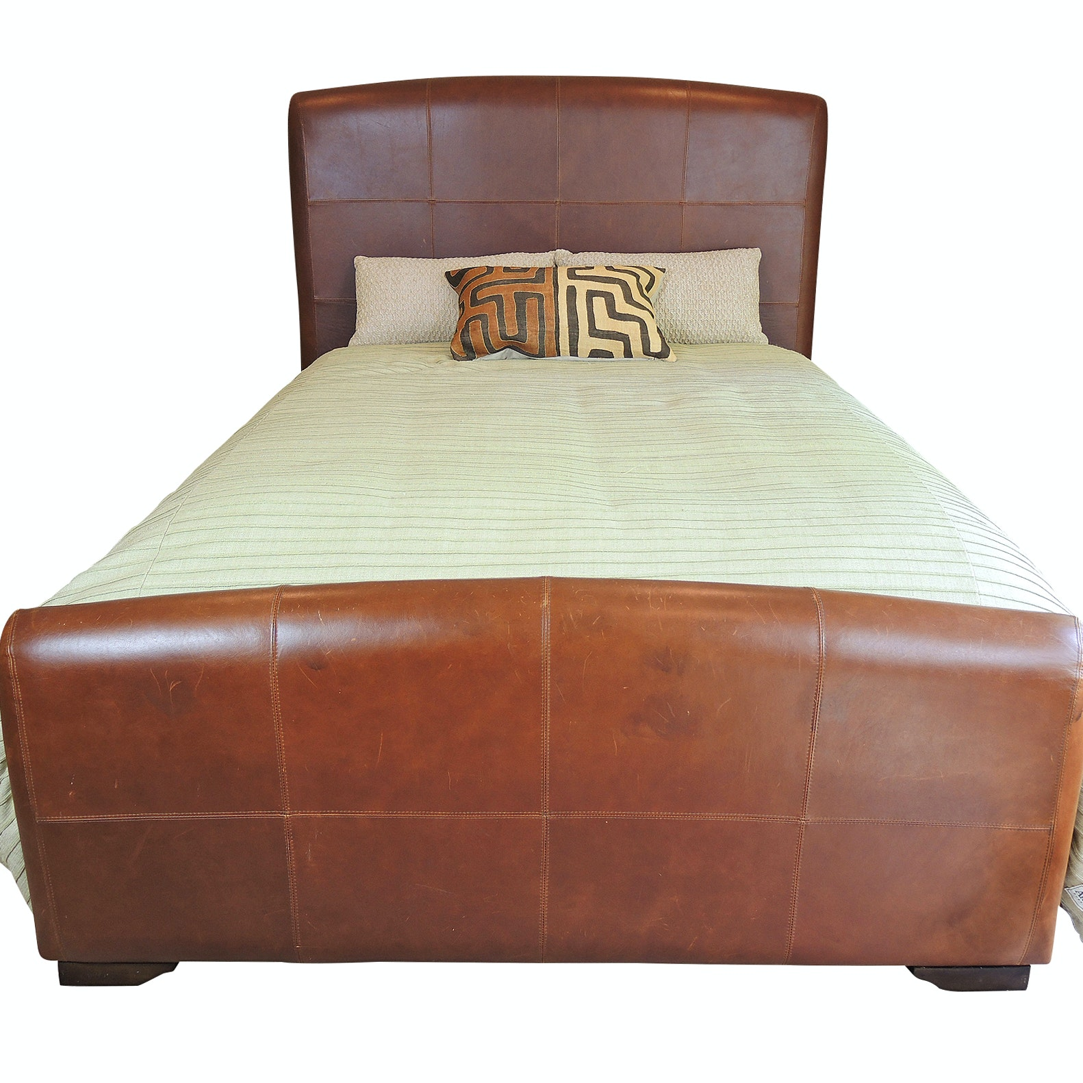 Stanley Furniture Queen Leather Headboard, Footboard and Side Rails