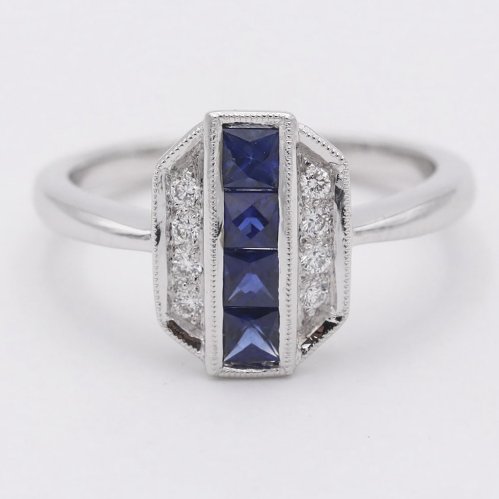 14K White Gold Art Deco Style Sapphire and Diamond Ring