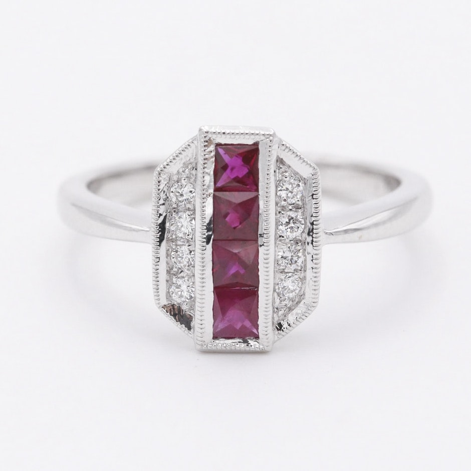 14K White Gold Ruby Diamond Ring