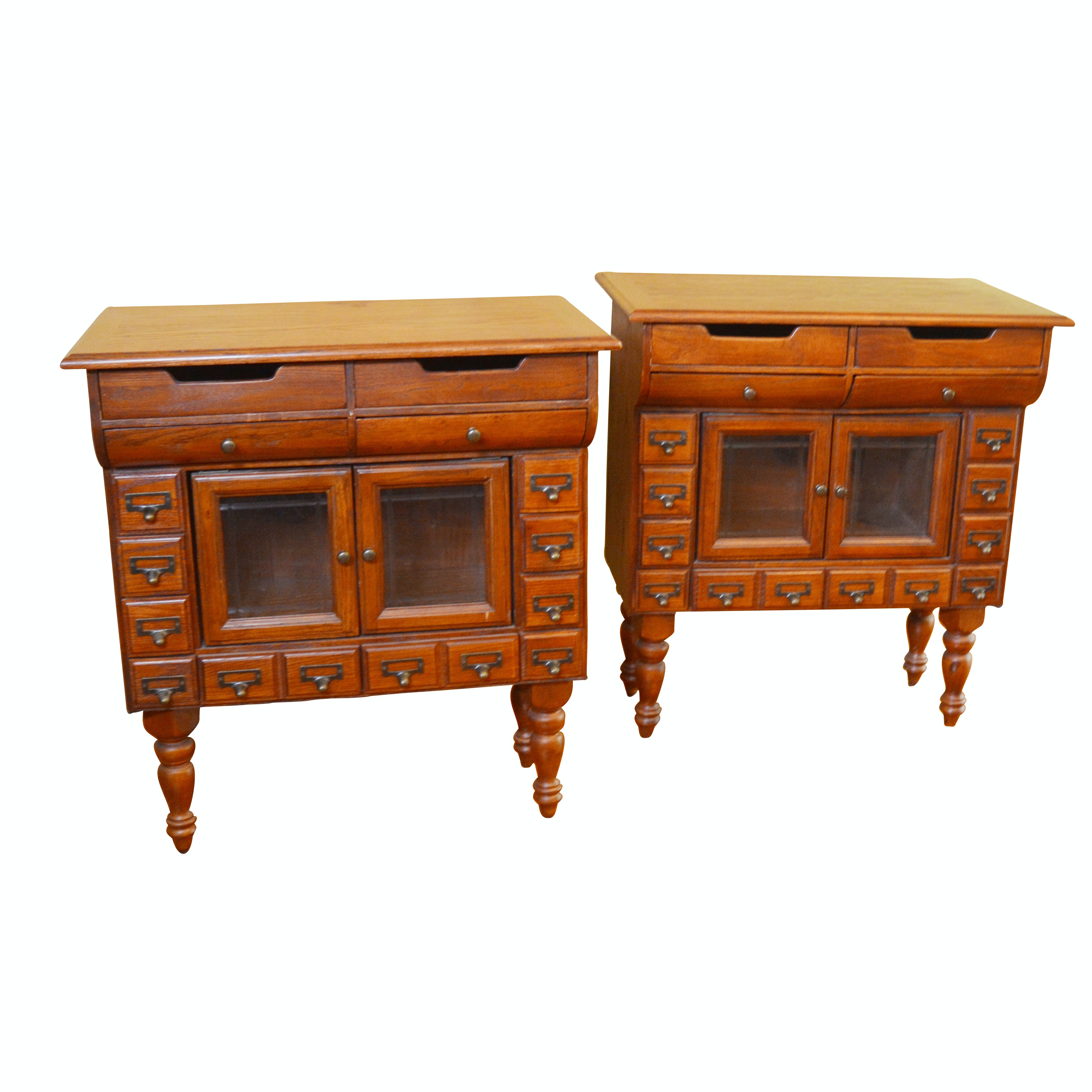 Contemporary Card Catalog Style Oak Side Cabinets