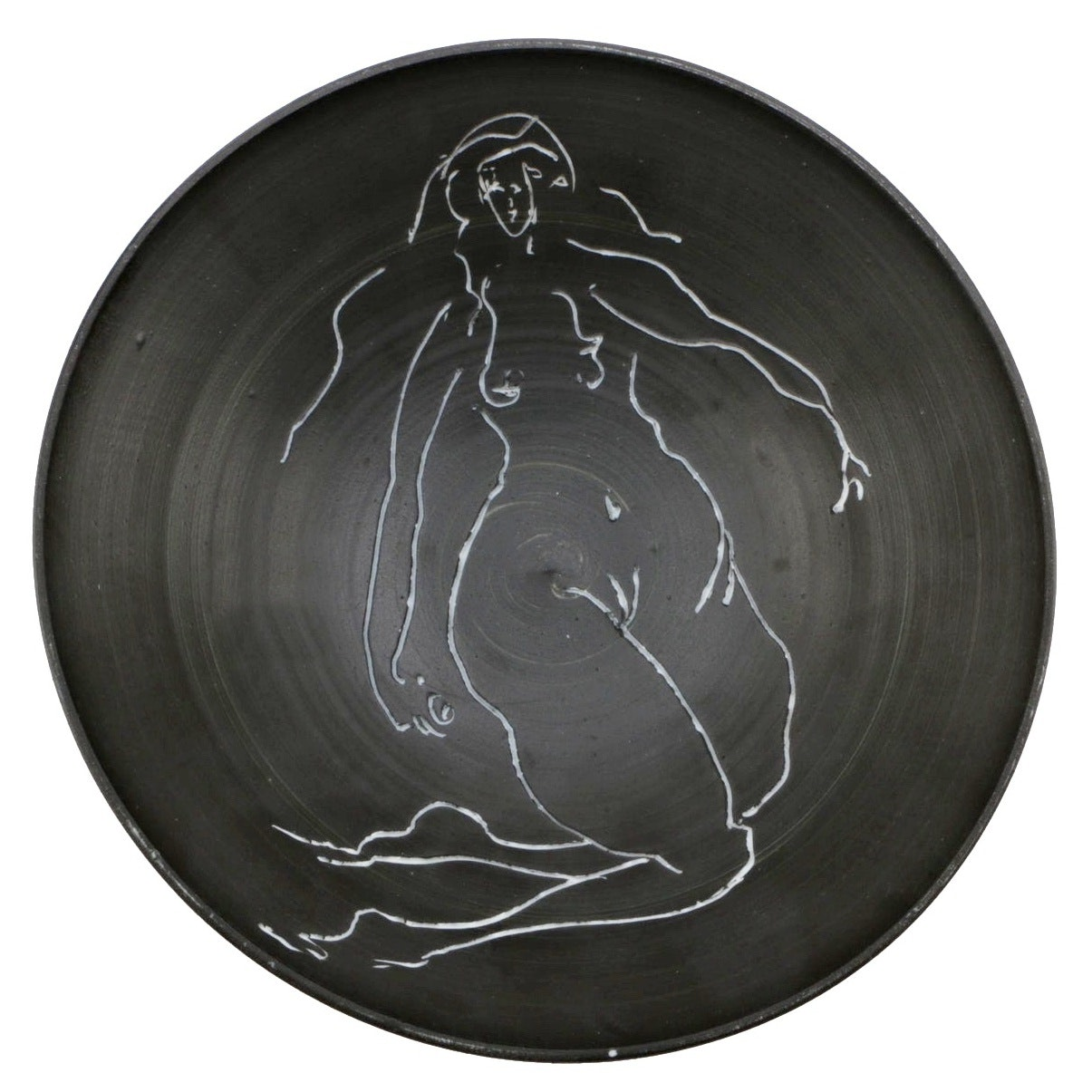 "Edward Eberle 2009 Porcelain Sgraffito Bowl ""Figure Redux #1"""