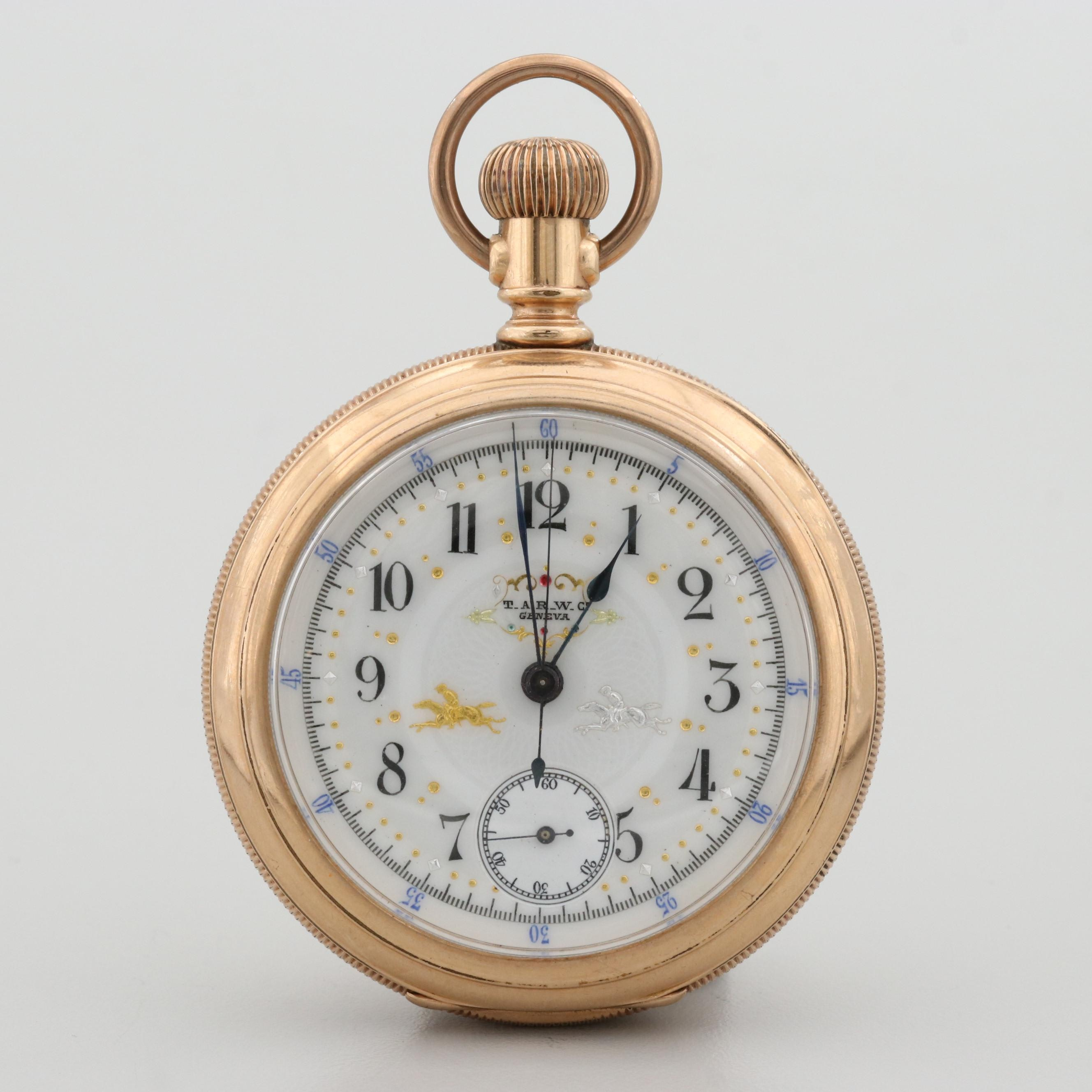 T.A.R. Watch Co. Gold Filled Chronograph Pocket Watch