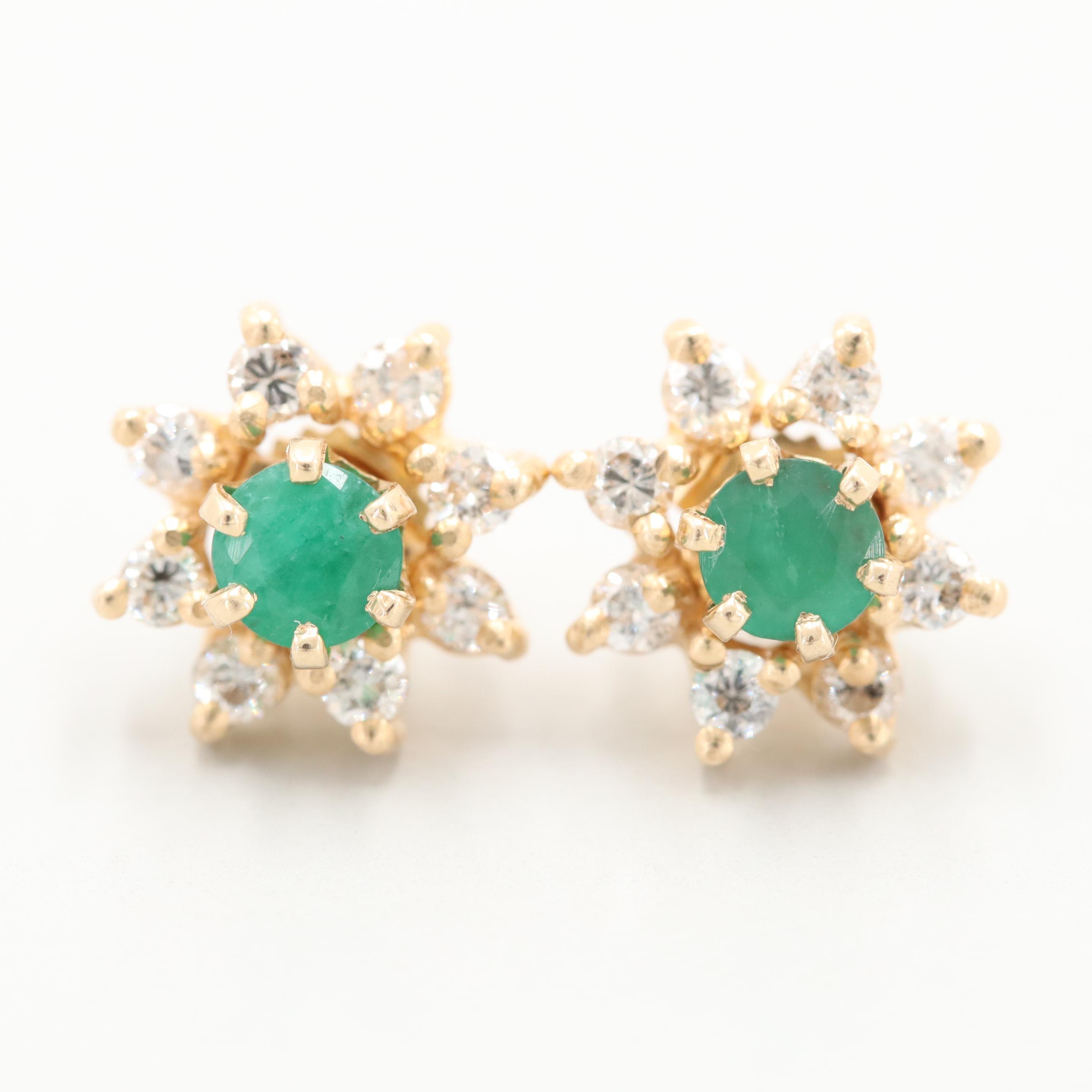 14K Yellow Gold Emerald Stud Earrings with diamond Jackets