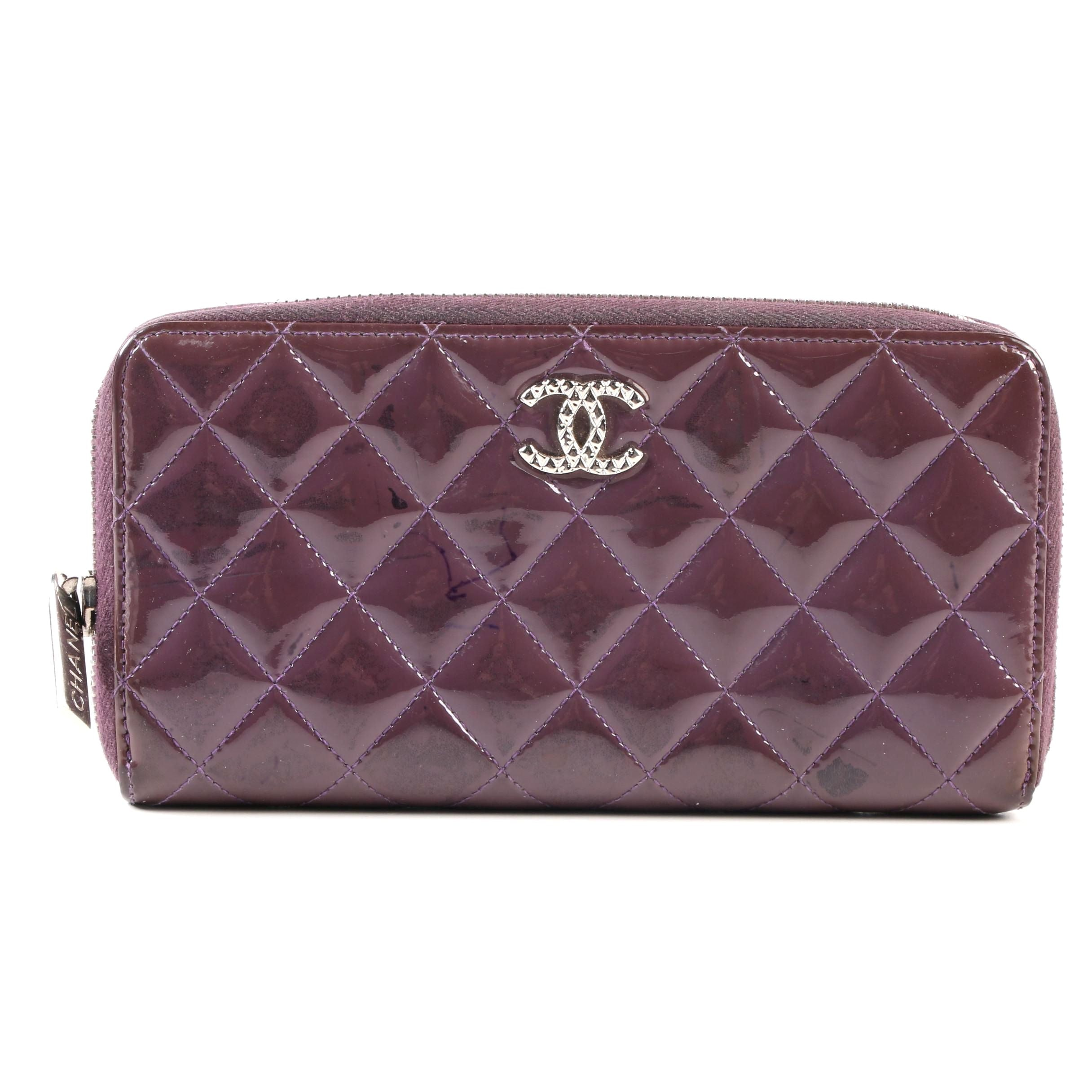 Chanel CC Accordion Zip-Around Wallet in Quilted Plum Patent Leather