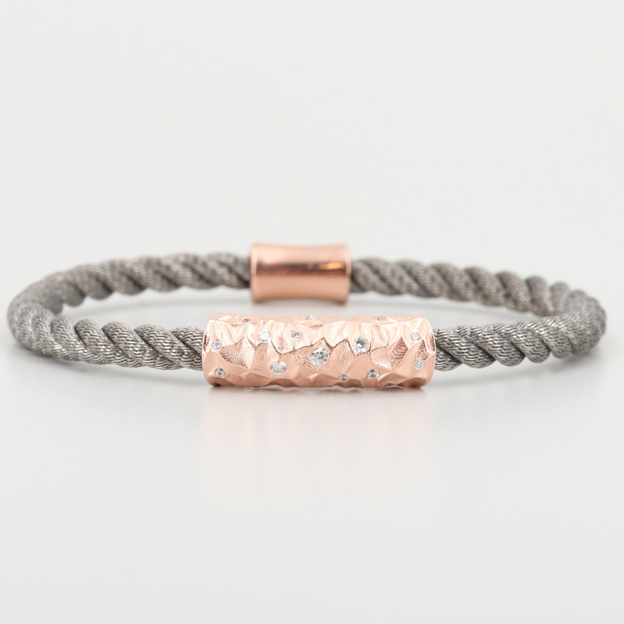 Sterling Silver Cubic Zirconia Flexible Bracelet With Rose Tone Accents