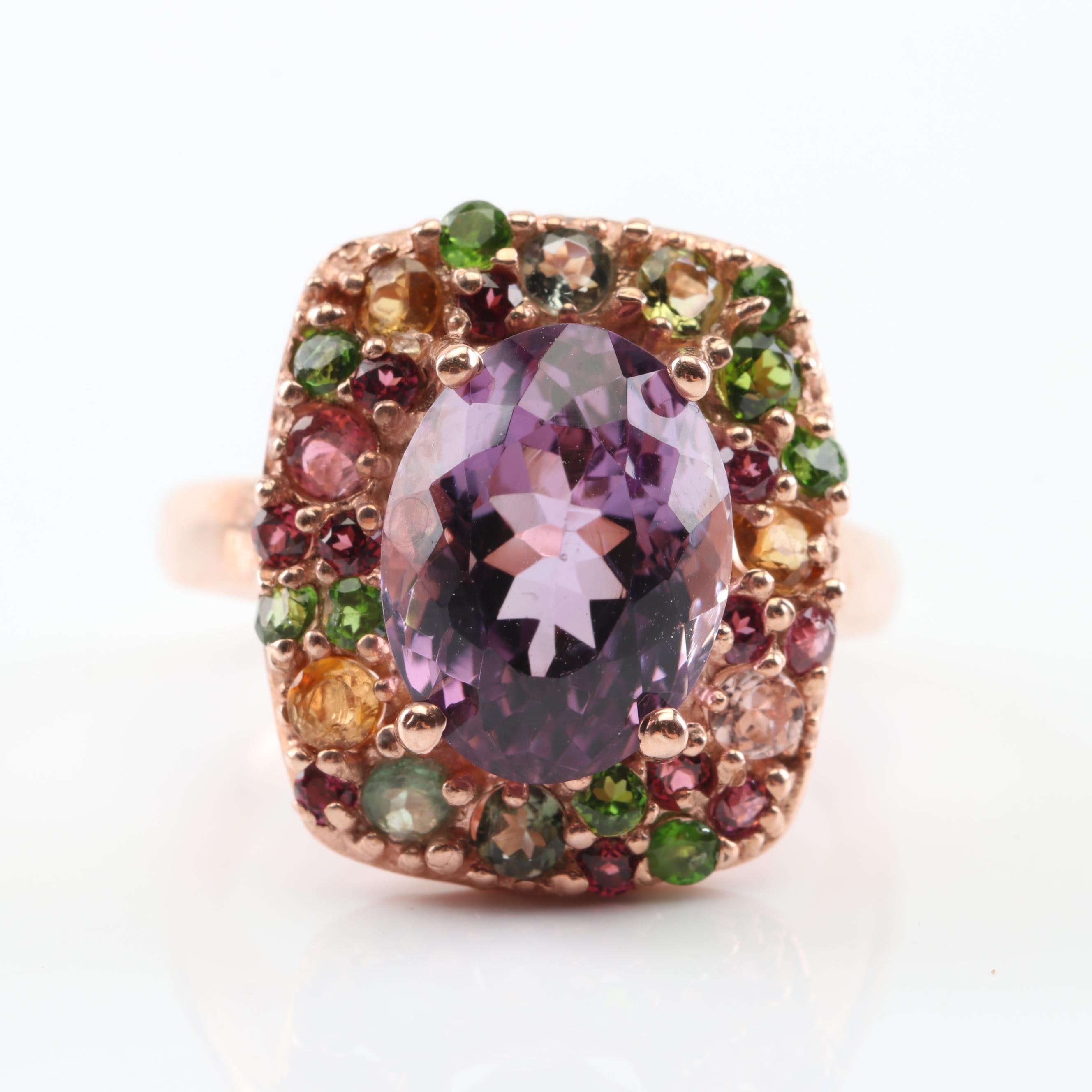 Sterling Silver 5.18 CT Amethyst and Multi-Gemstone Ring with Rose Gold Wash
