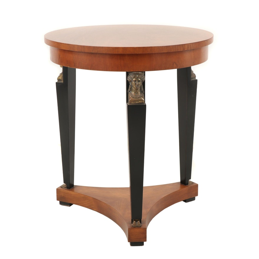 Baker Furniture Empire Style Fruitwood, Parcel Ebonized and Metal Mounted Table