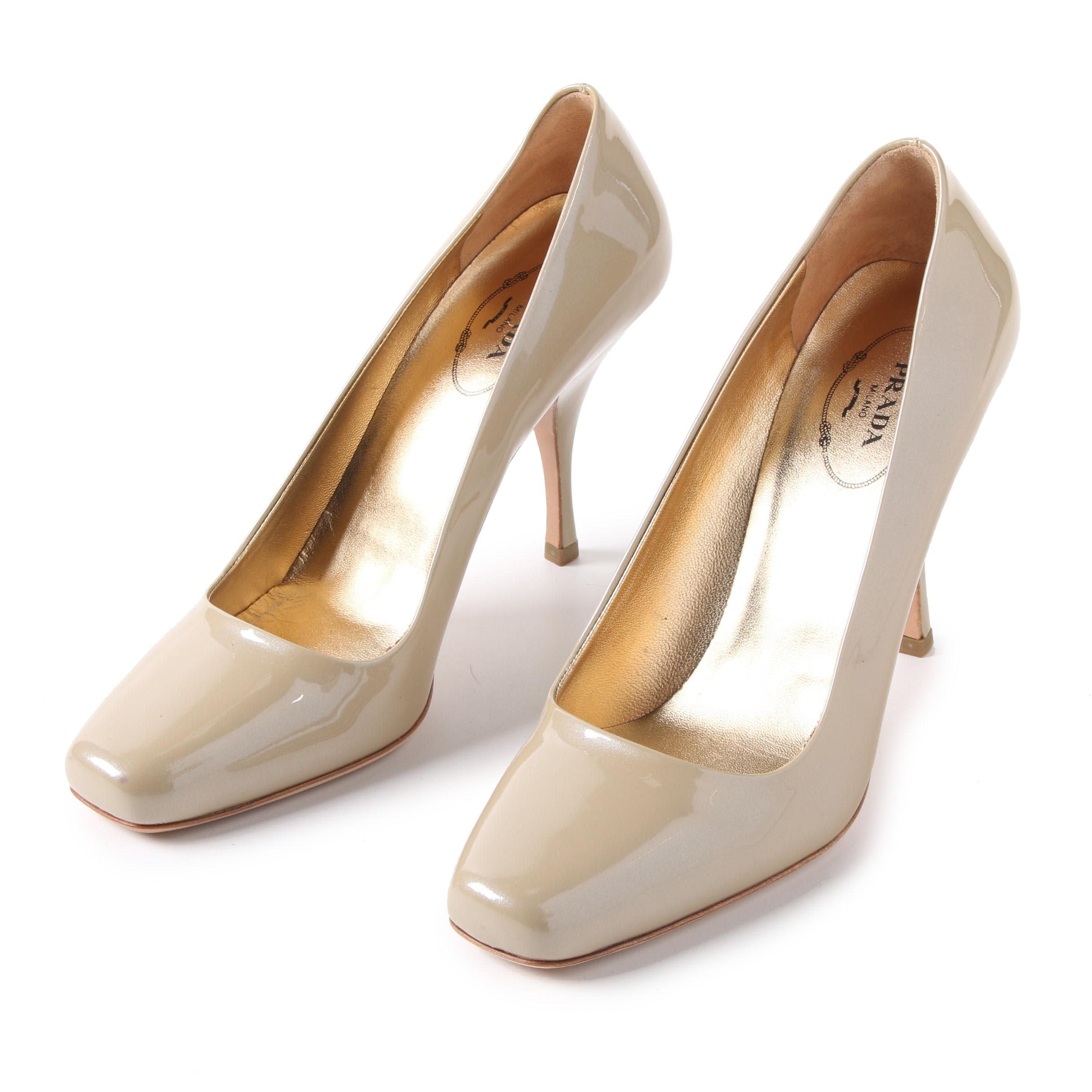 Prada Vernice Taffeta Cammello Patent Leather Square Toe Pumps